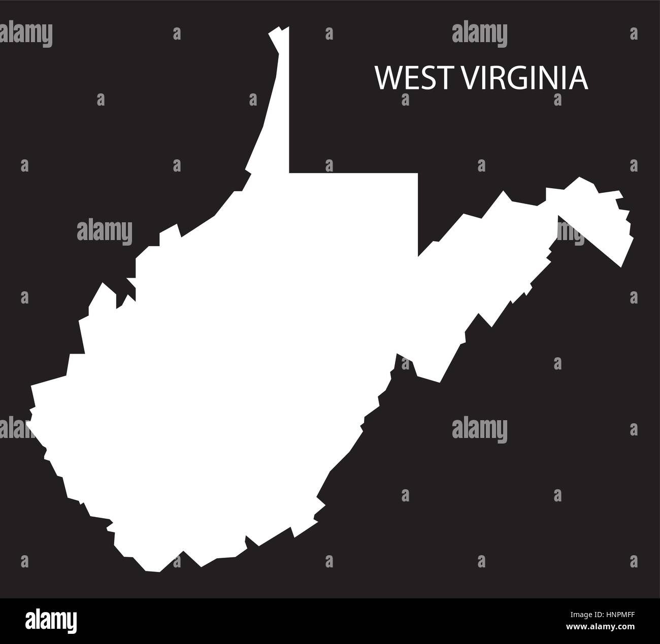 West Virginia USA Map black inverted silhouette Stock Vector Art ...