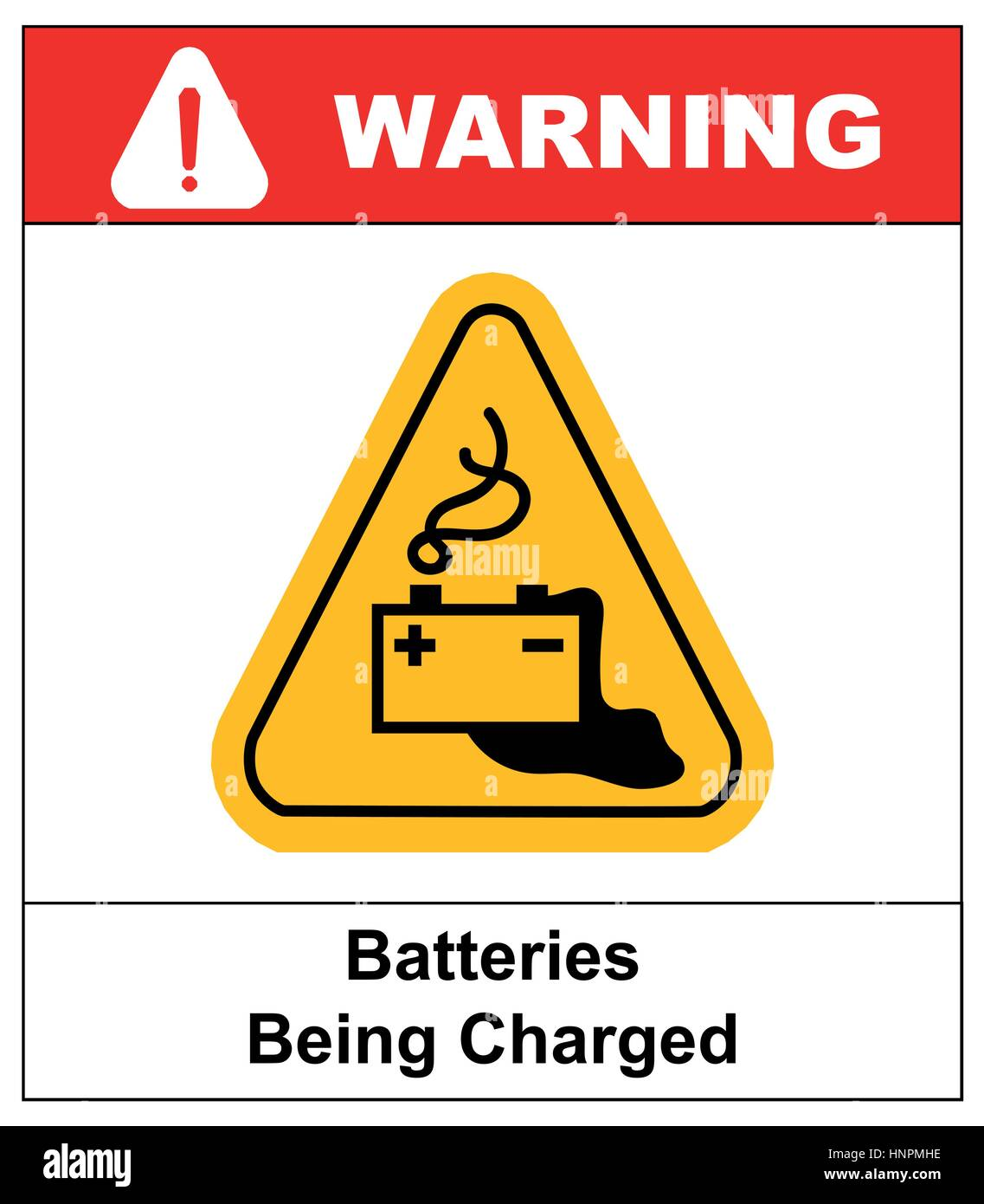 Warning battery charging sign in yellow triangle isolated on