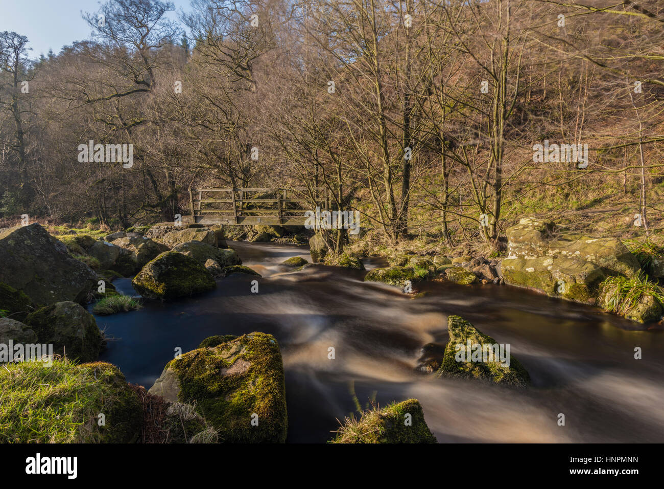 Beautiful running water at Bolton Abbey, Yorkshire - Stock Image
