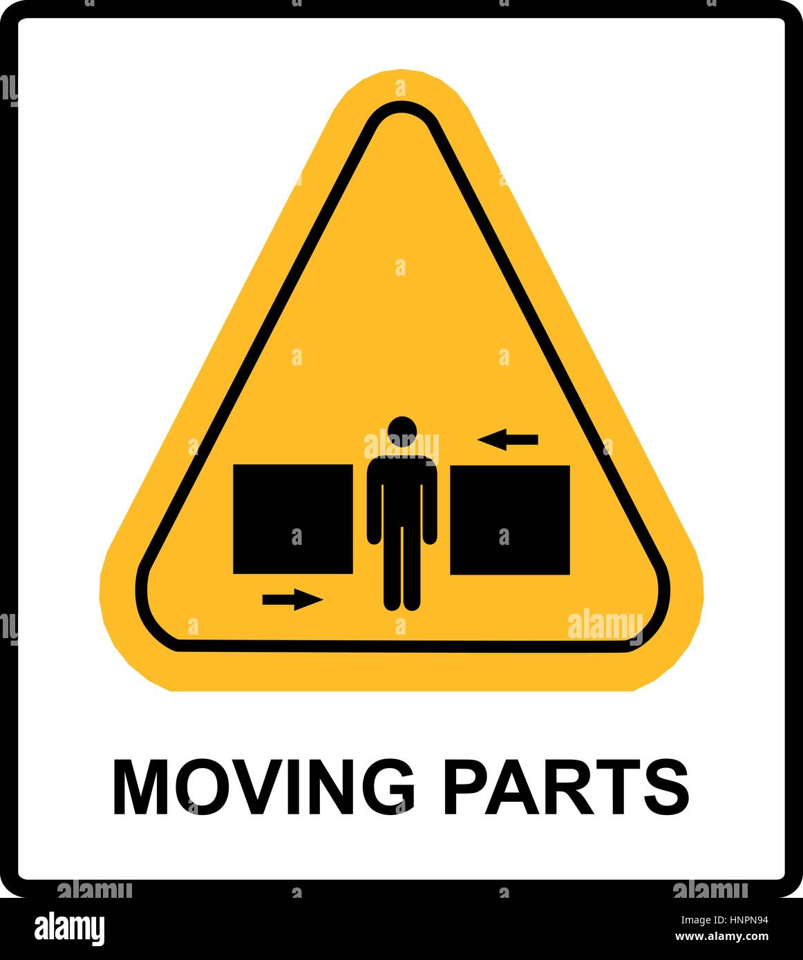 set of danger moving parts signs in yellow triangle with man between