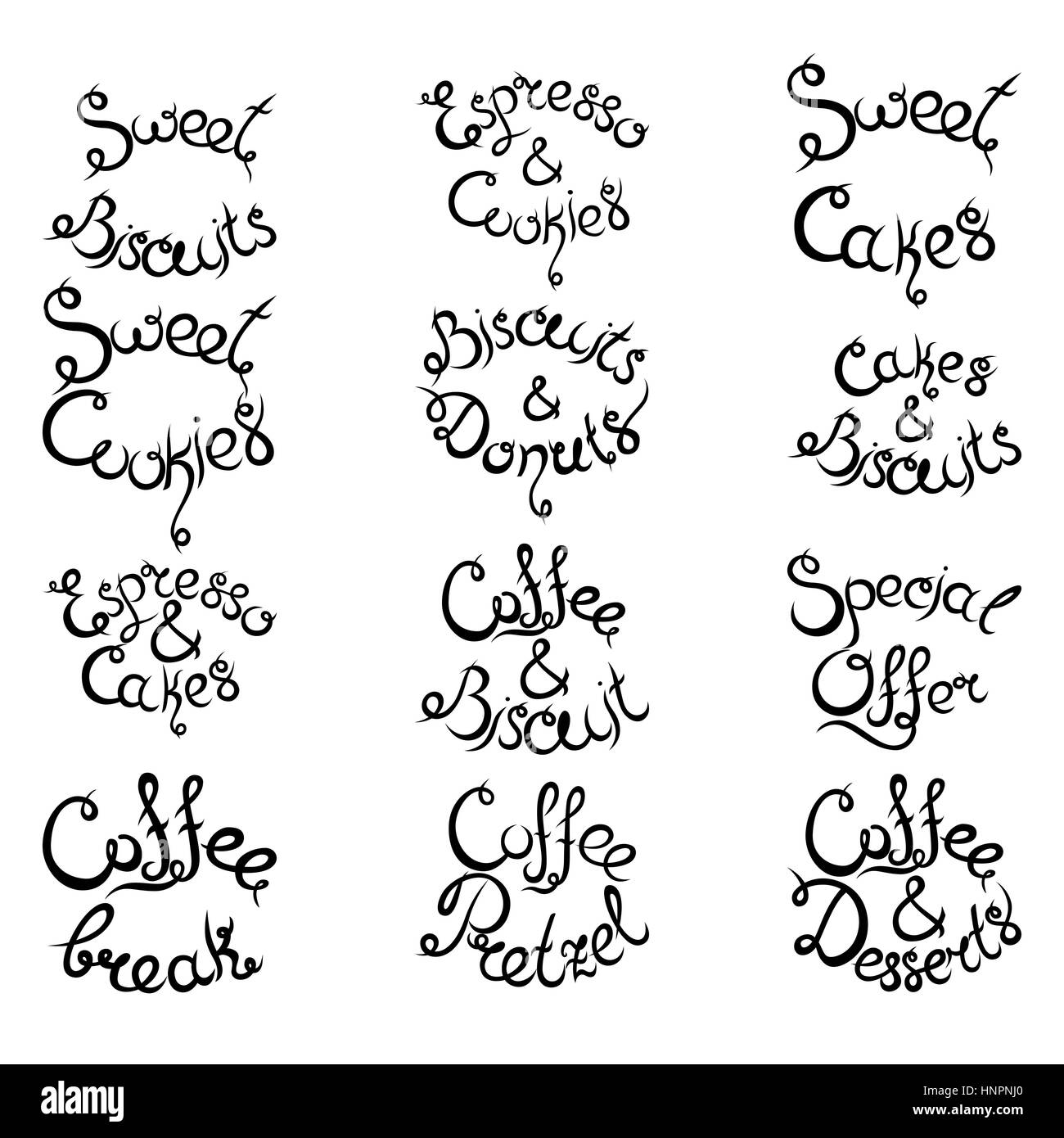 Set 3 of curly hand-drawn lettering Phrases for Coffee Shop. Espresso Cappuccino Cakes Donuts Macarons Cookies Biscuits Stock Vector