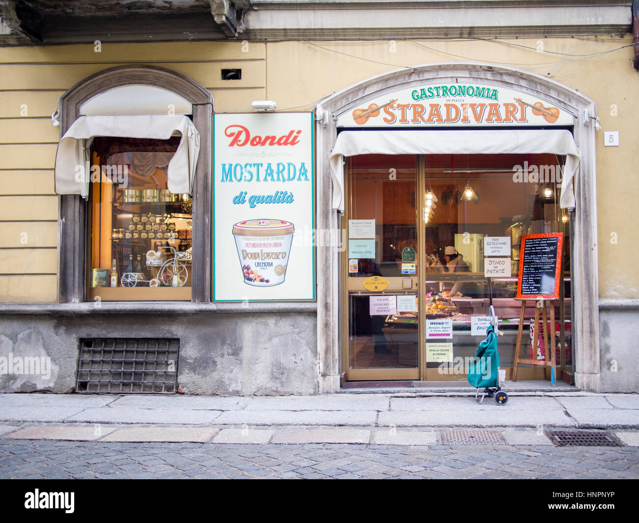 Gastronomia, local food store, Cremona, Italy - Stock Image
