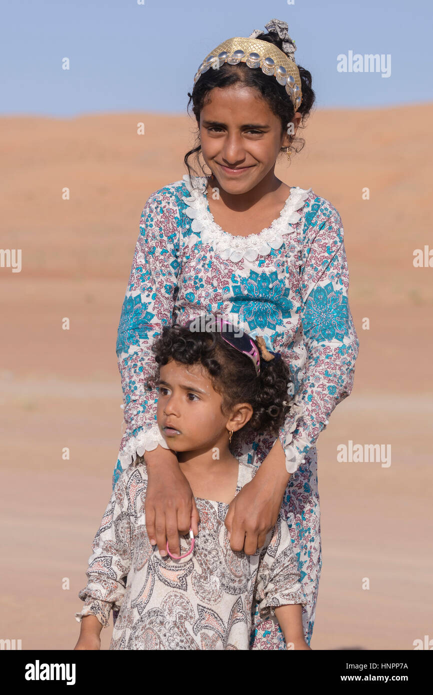 two Bedouin girls in Wahiba Sands, Oman, Middle East, Asia - Stock Image