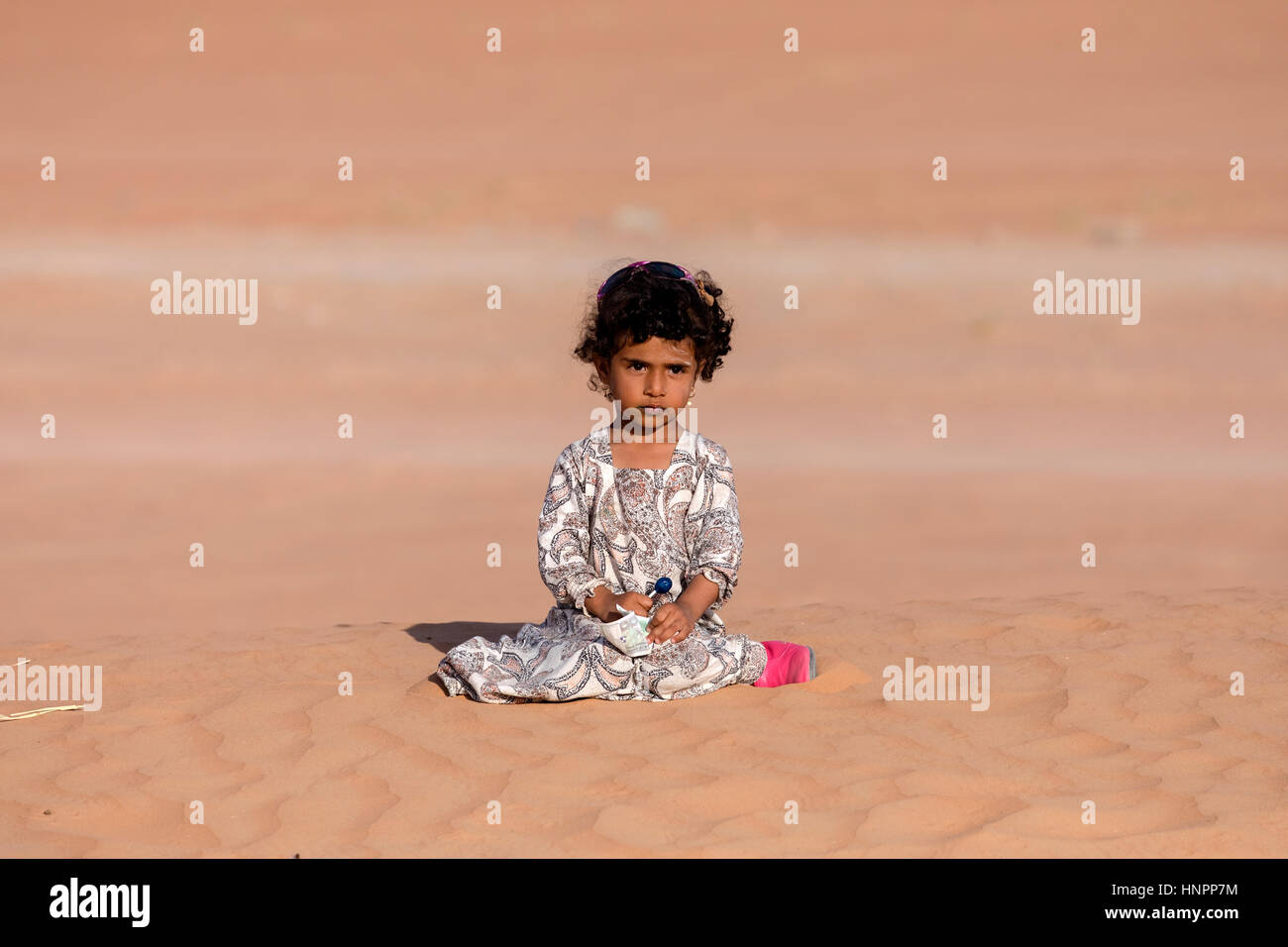 Bedouin girl in Wahiba Sands, Oman, Middle East, Asia - Stock Image