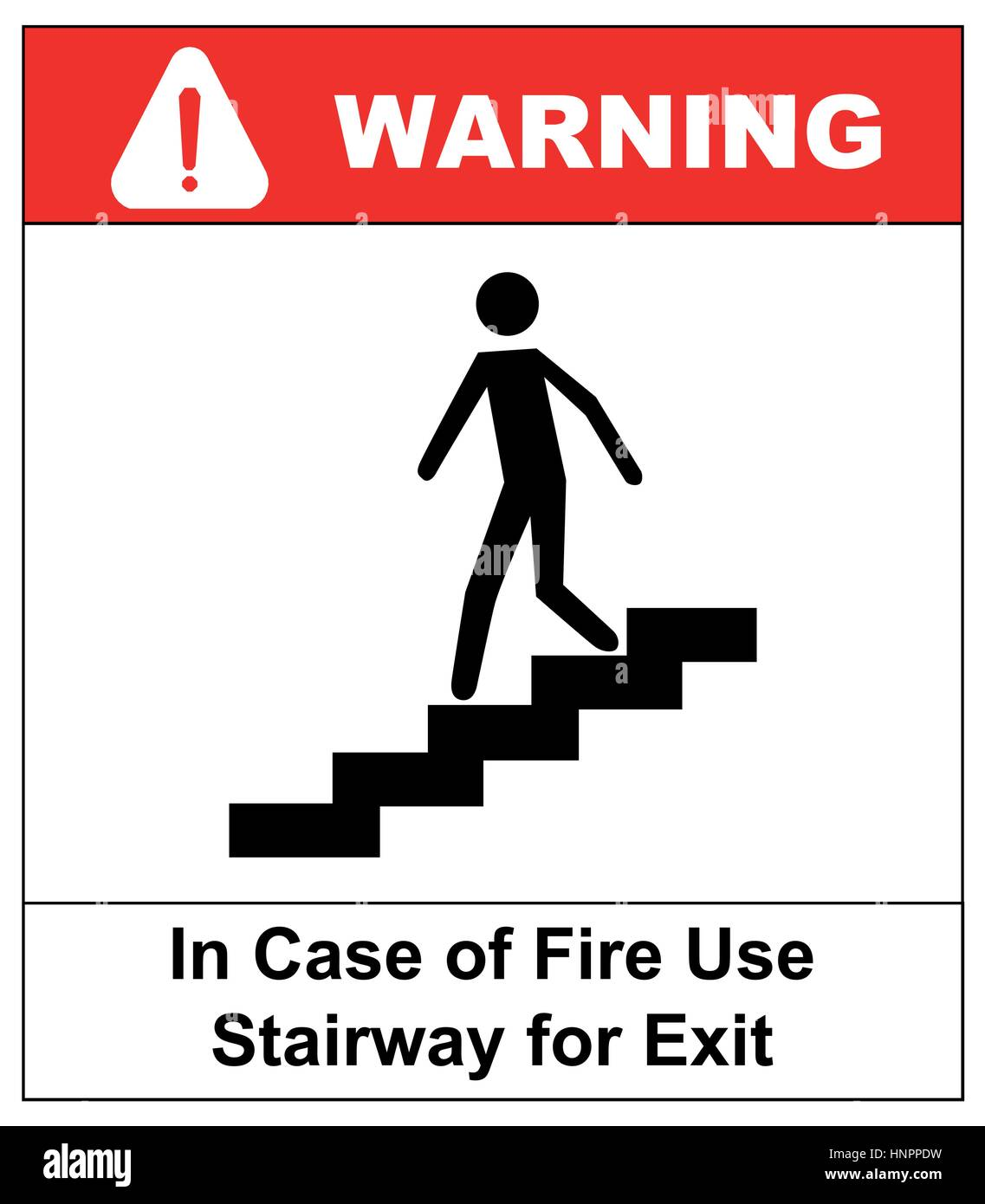 in case of fire use stairway for exit sign man going on emergency