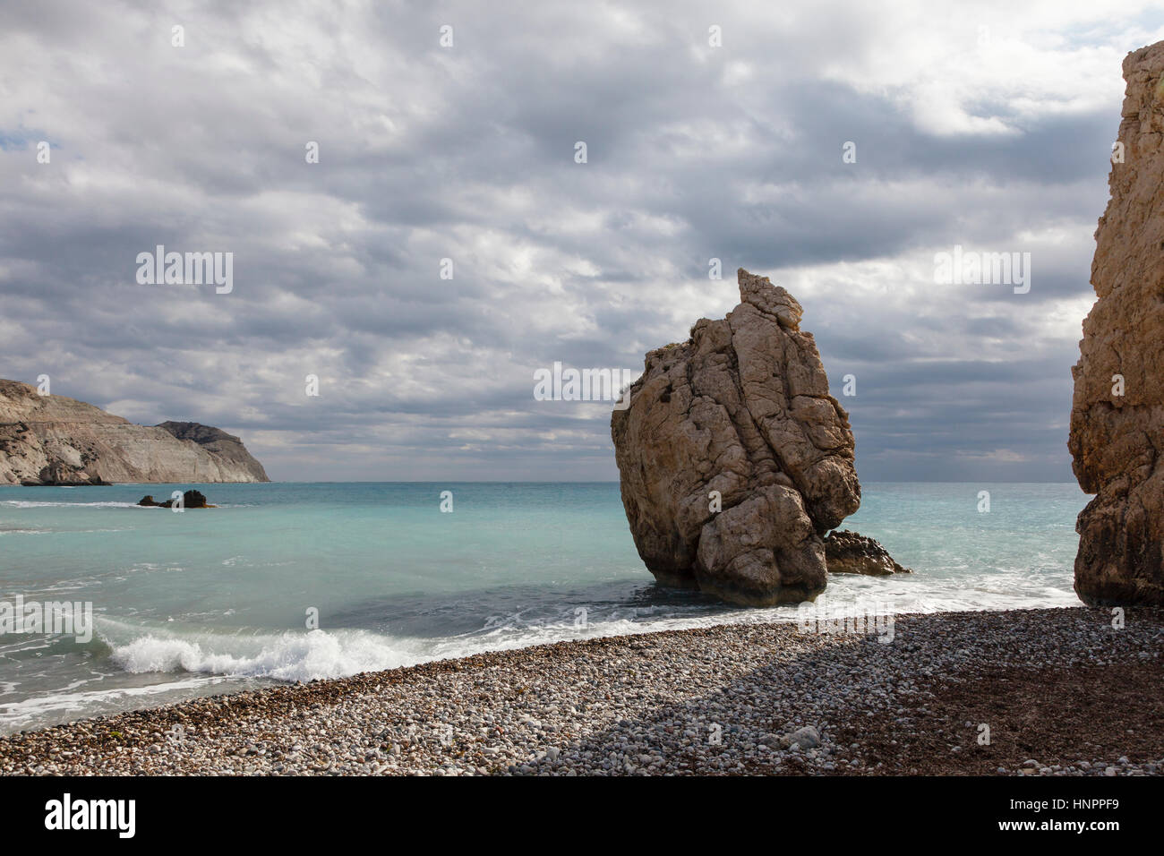 Aphrodite's Rock (Petra tou Romiou), near Paphos, Cyprus - Stock Image