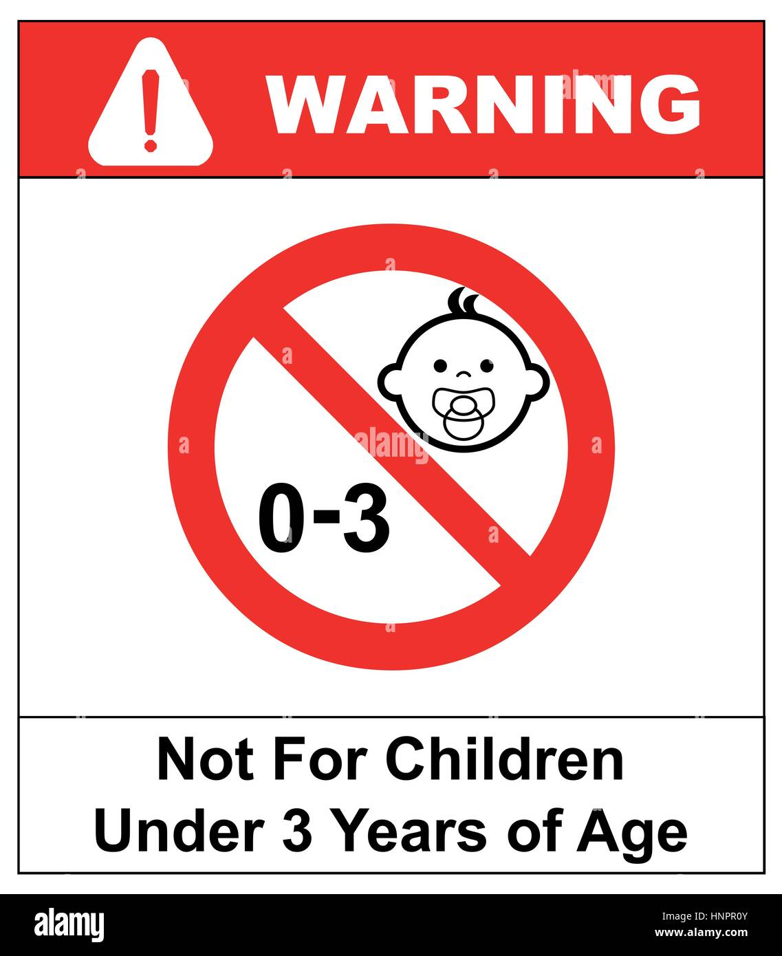 Prohibition sign for children.Not for children under 3 years of age sign. Vector illustration. Red prohibition circle - Stock Vector