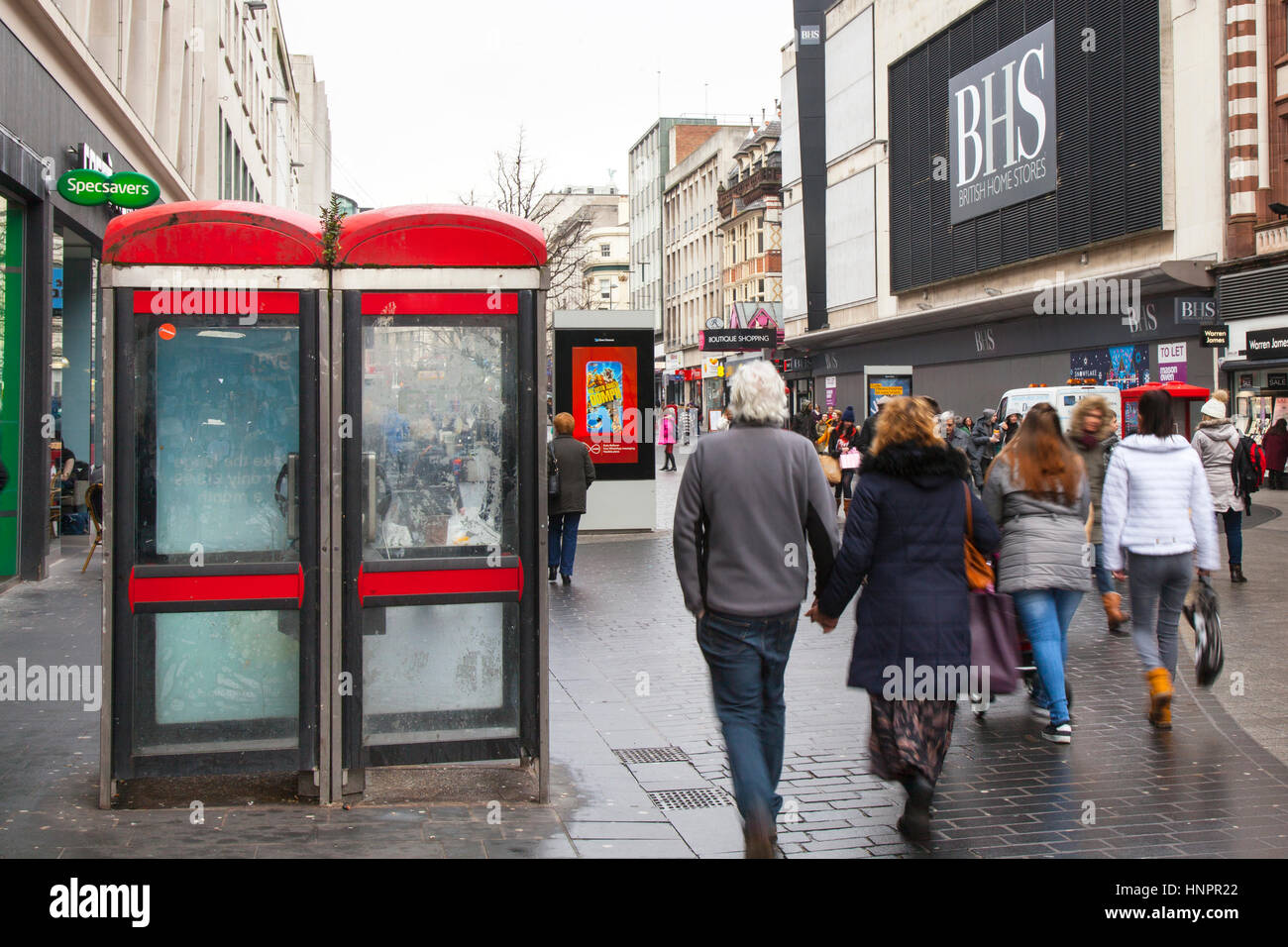 BT KX100 Disused, dirty, redundant red Telephone Boxes on Liverpool City centre, Merseyside, UK - Stock Image