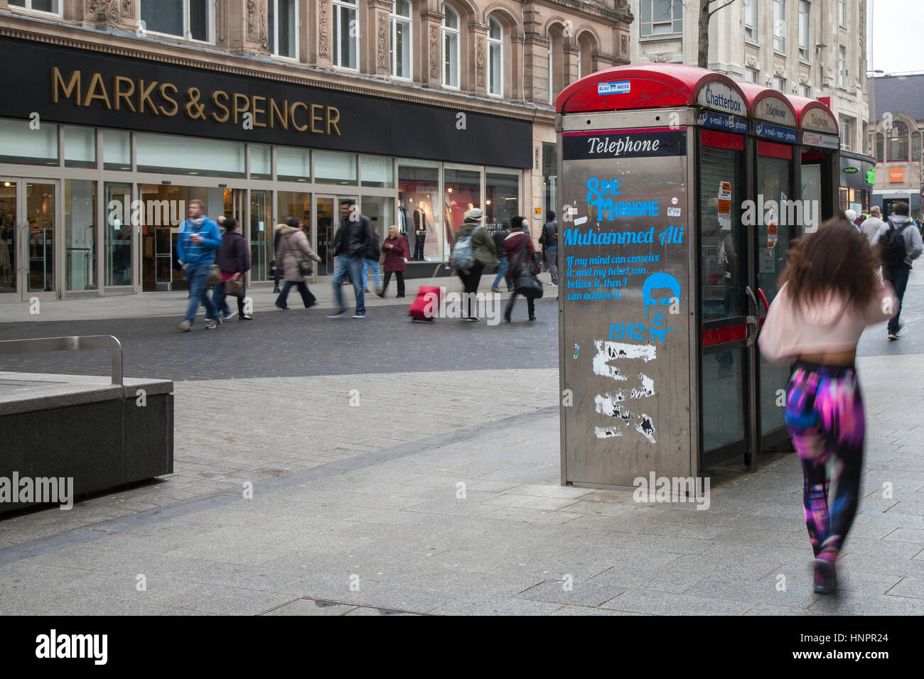 BT KX100 Disused, dirty, redundant red Telephone Boxes in Liverpool City centre, Merseyside, UK - Stock Image