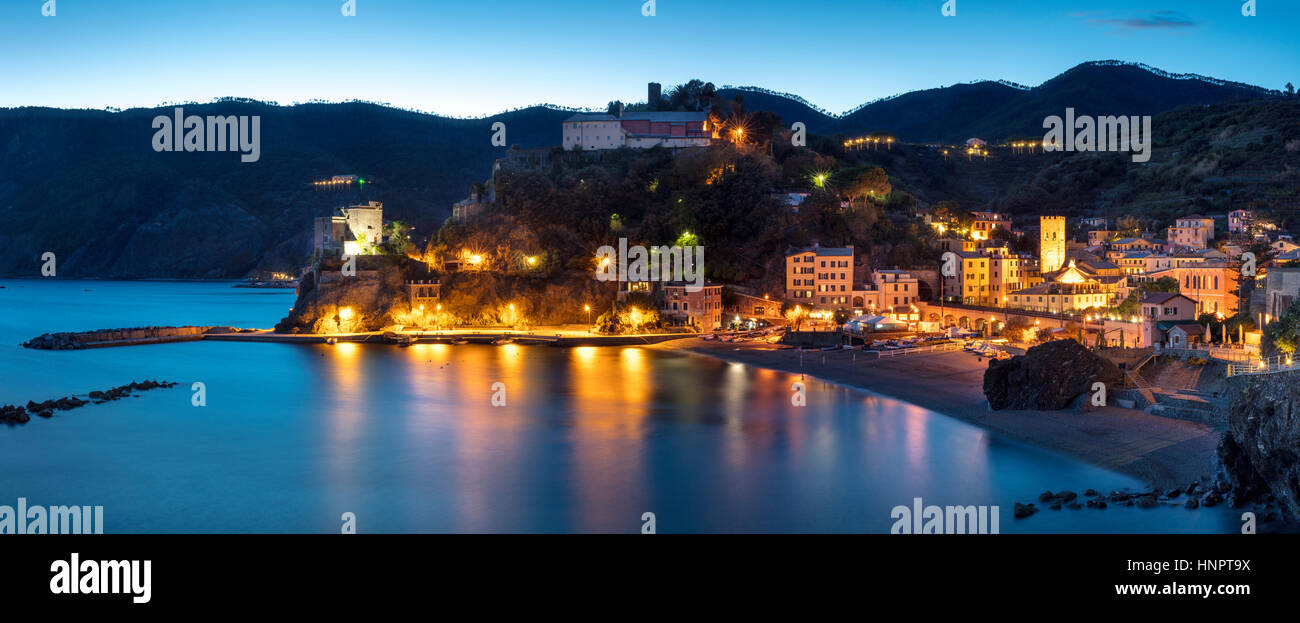 Evening twilight over Monterosso al Mare - one of the Cinque Terre, Liguria, Italy - Stock Image