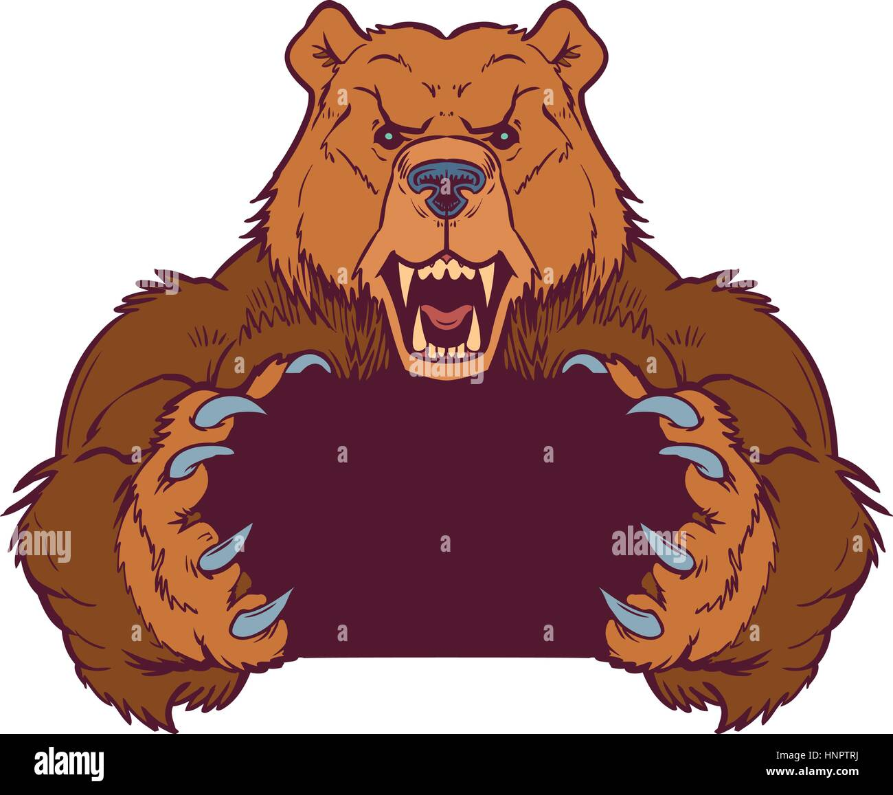Cartoon vector clip art illustration template of a brown bear mascot holding or gripping empty space between its - Stock Vector