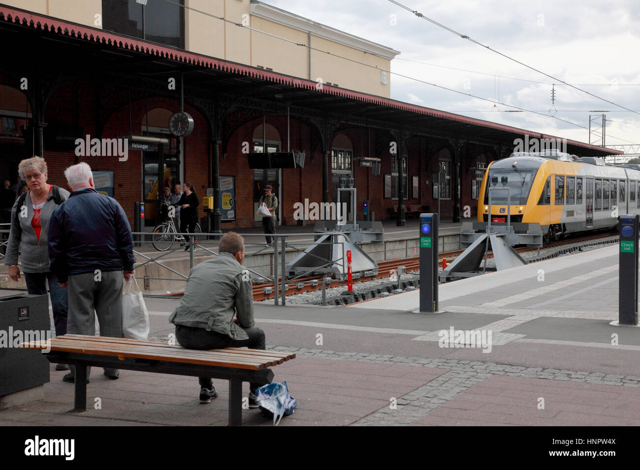 A train standing in the station at Helsingor, Denmark Stock Photo