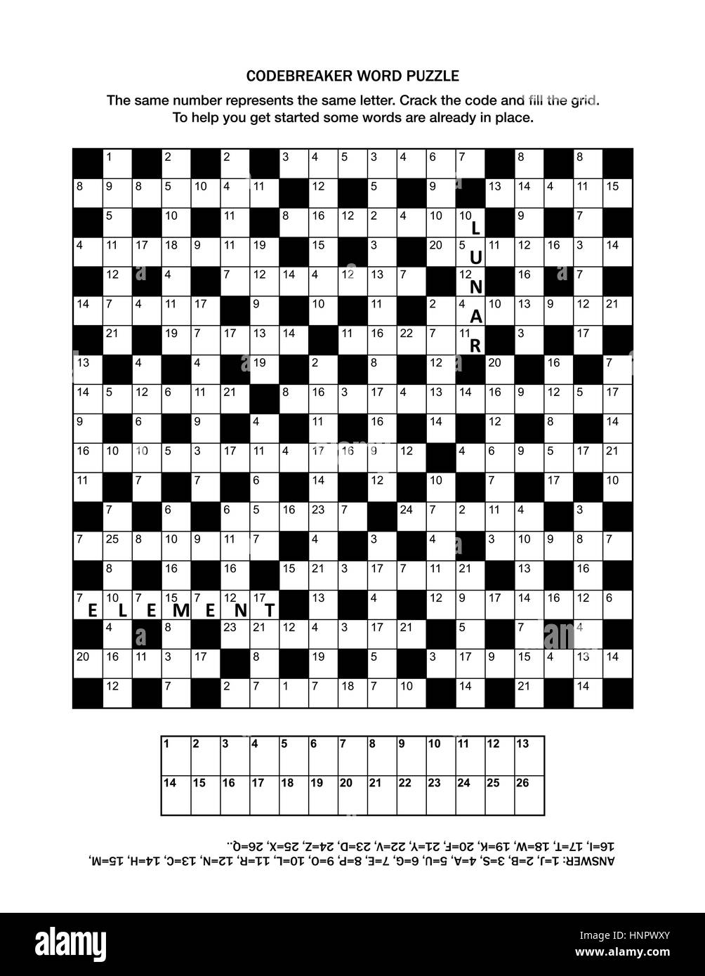 Puzzle page with codebreaker (or codeword, or code cracker) word