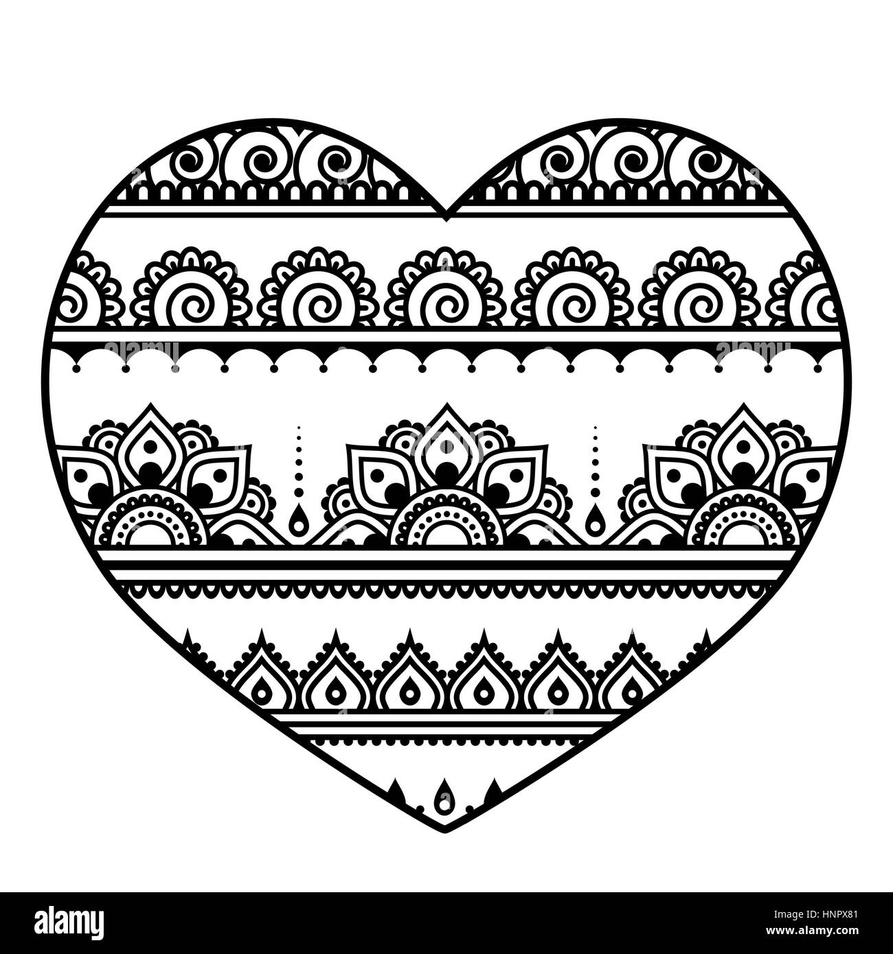 Valentine S Day Heart Mehndi Indian Henna Tattoo Pattern Stock
