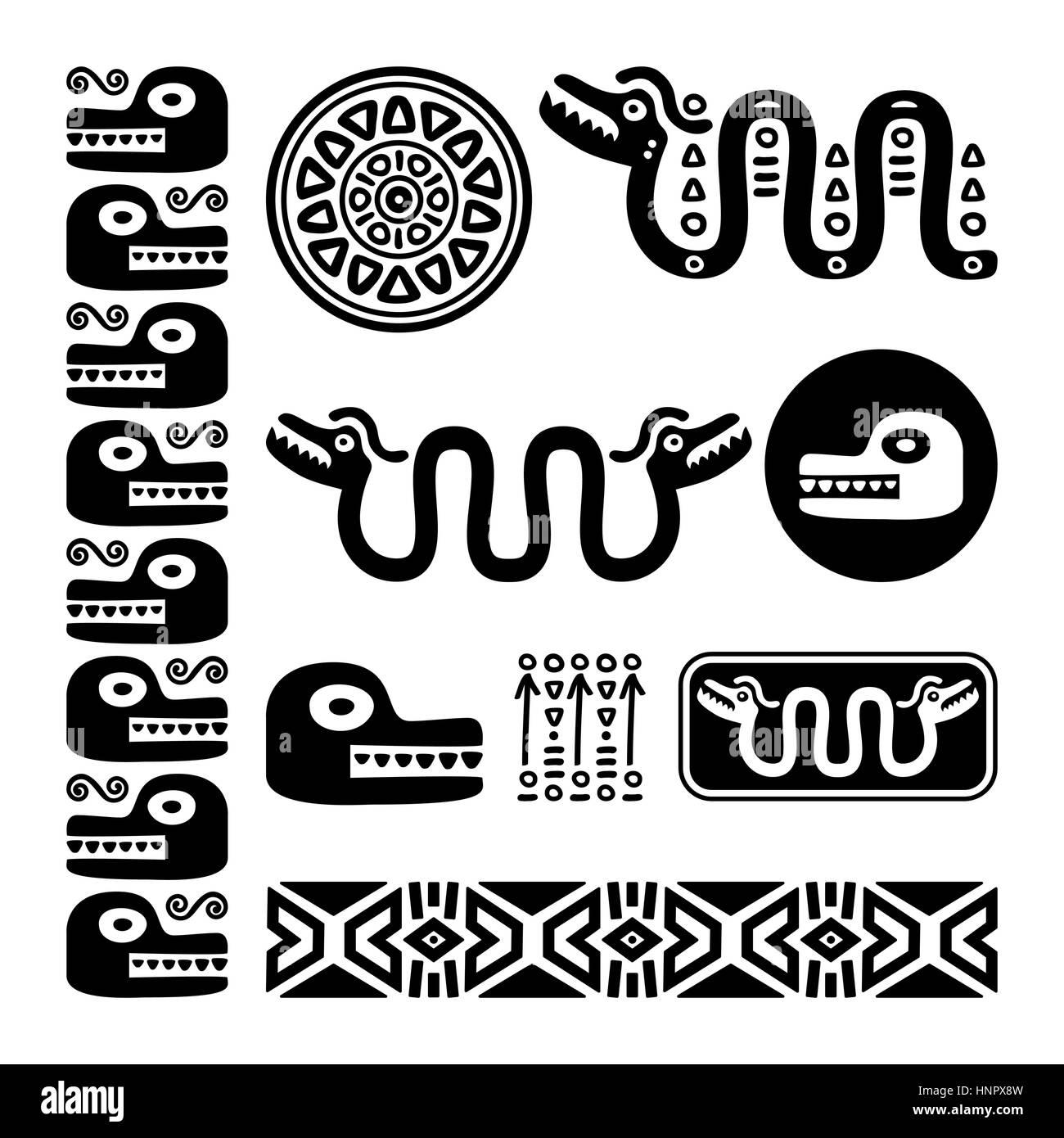 Aztec animals, Mayan snake, ancient Mexican design set - Stock Image