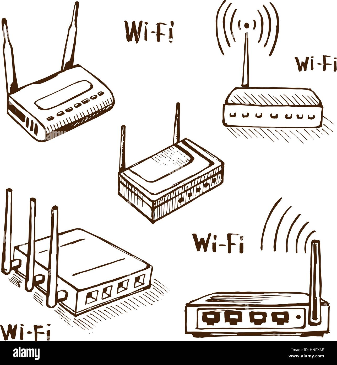 Wireless router vector sketch - Stock Image