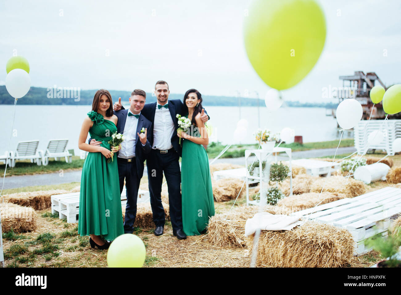 Portrait of a beautiful young drivers and bridesmaids. Wedding. Stock Photo
