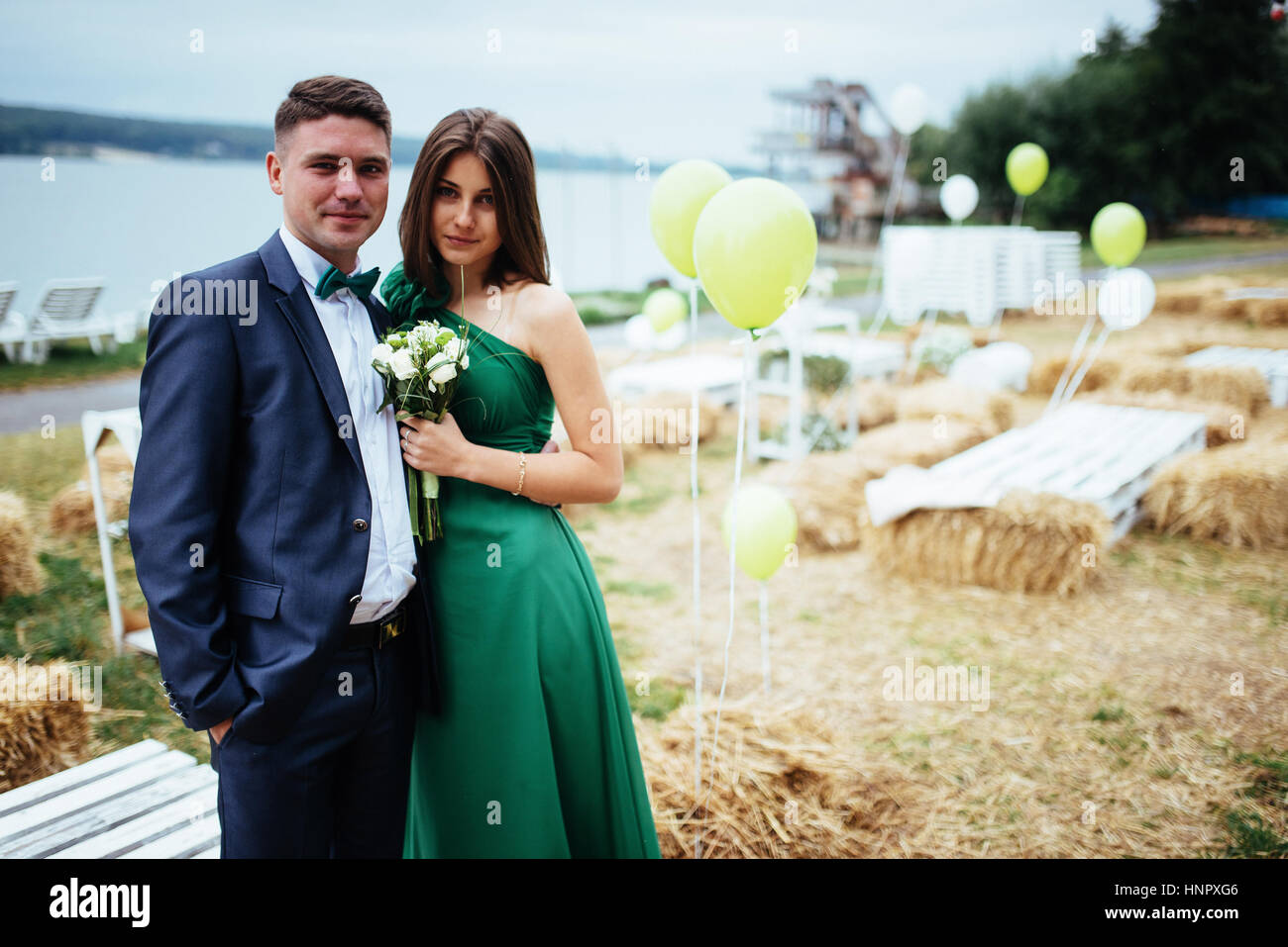 Portrait of a beautiful young drivers and bridesmaids. Wedding Stock Photo