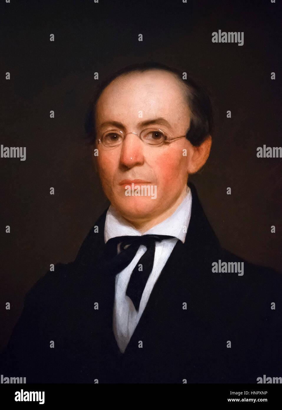William Lloyd Garrison (1805-1879), portrait by Nathaniel Jocelyn, oil on wood panel, 1833. Garrison was a prominent - Stock Image