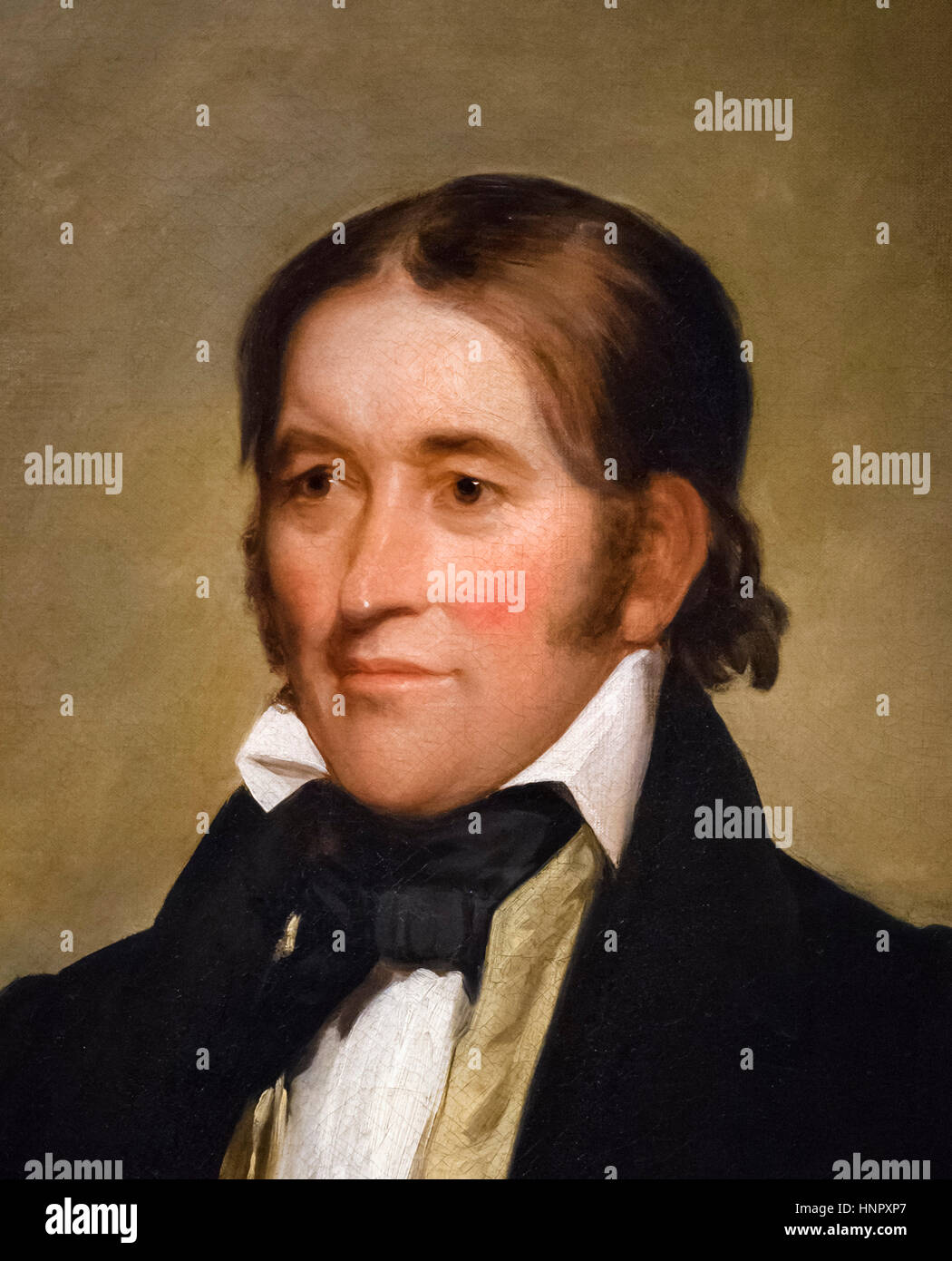 Davy Crockett (1786-1836), portrait by Chester Harding, oil on canvas, 1834. Davy Crockett, 'King of the Wild - Stock Image