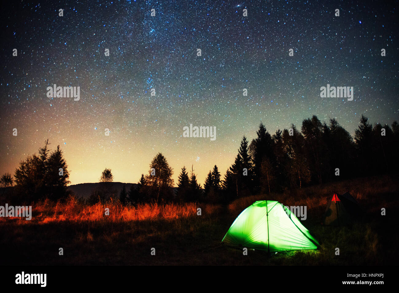 Camping under the stars  Green solo tent dark night sky