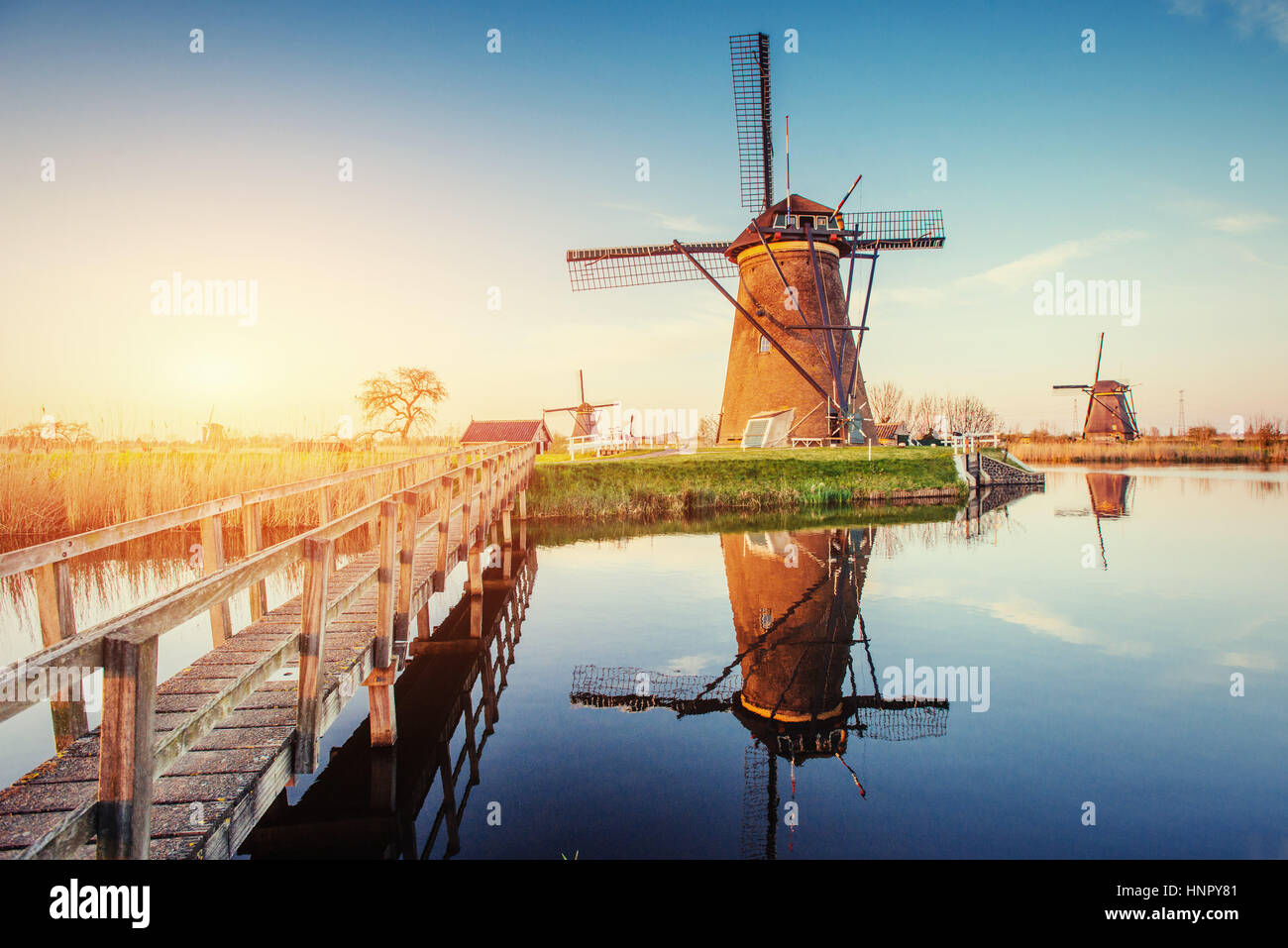 Traditional Dutch windmills from the channel Rotterdam. Holland - Stock Image