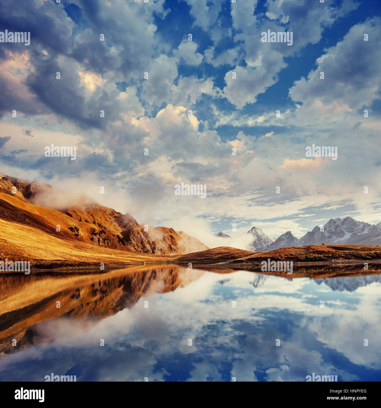 The picturesque landscape in the mountains. Upper Svaneti, Georg - Stock Image