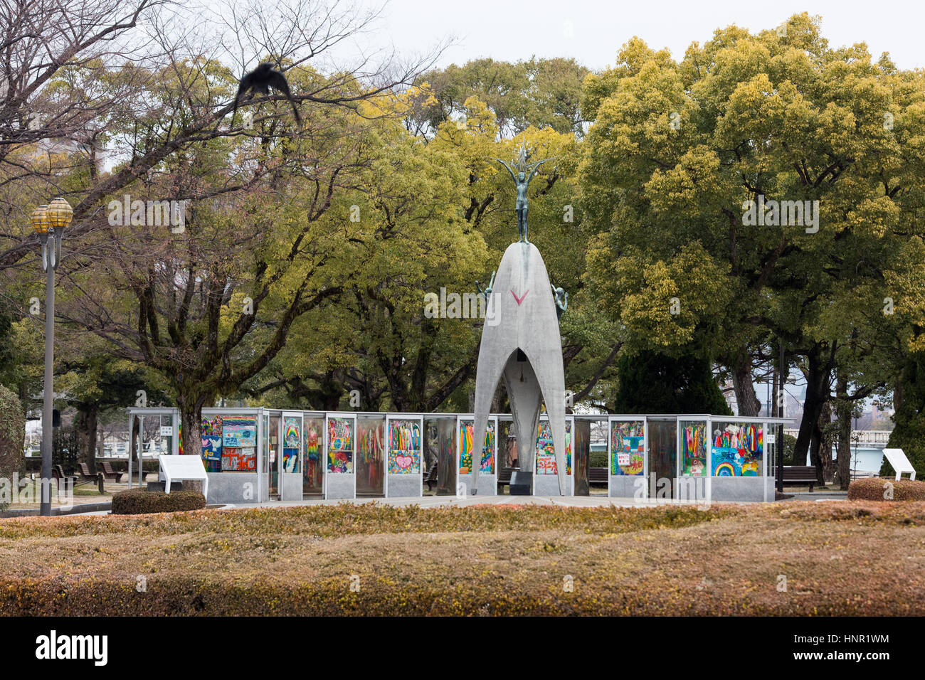 The Children's Peace Monument in Hiroshima , Japan - to commemorate Sadako Sasaki and the thousands of child - Stock Image