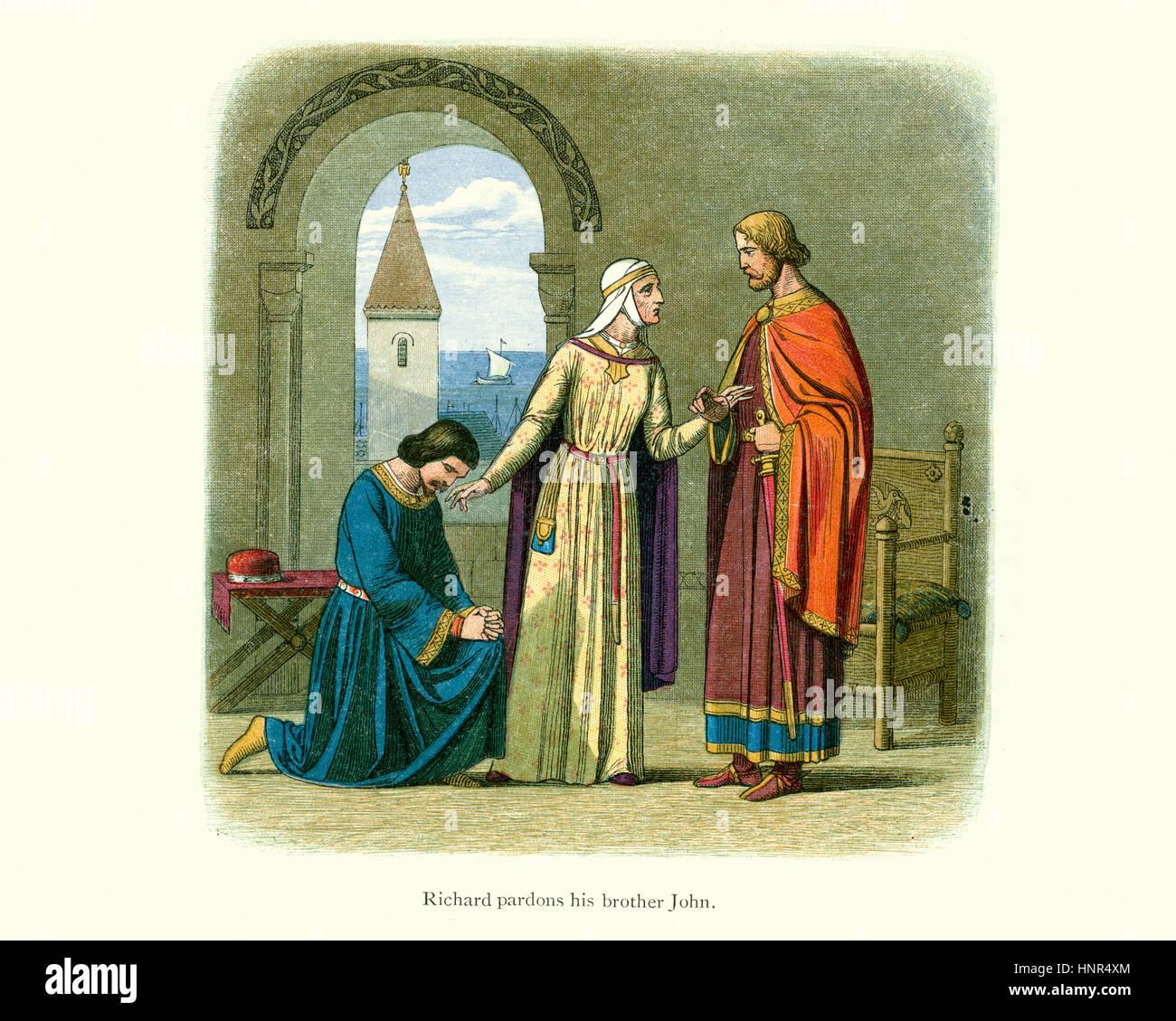 King Richard the Lioheart pardoning his brother Prince John. Richard Doyle, Chronicle of England - Stock Image