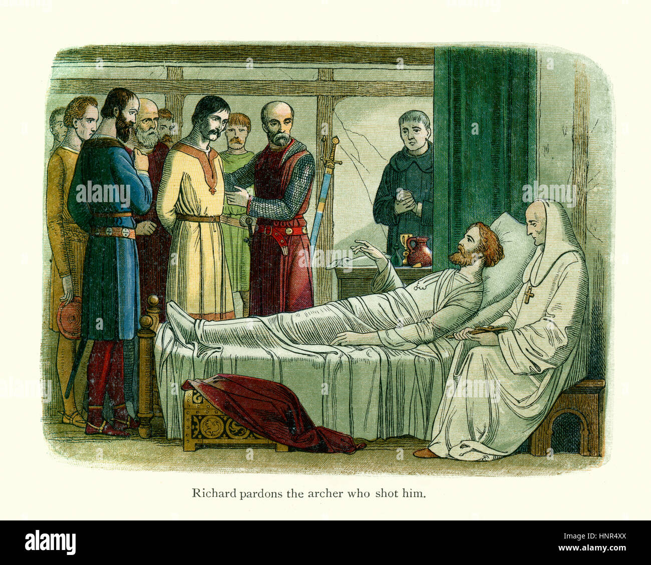 King Richard the Lionheart on his deathbed. Richard was killed while laying siege to the castle of Chalus-Chabrol. - Stock Image