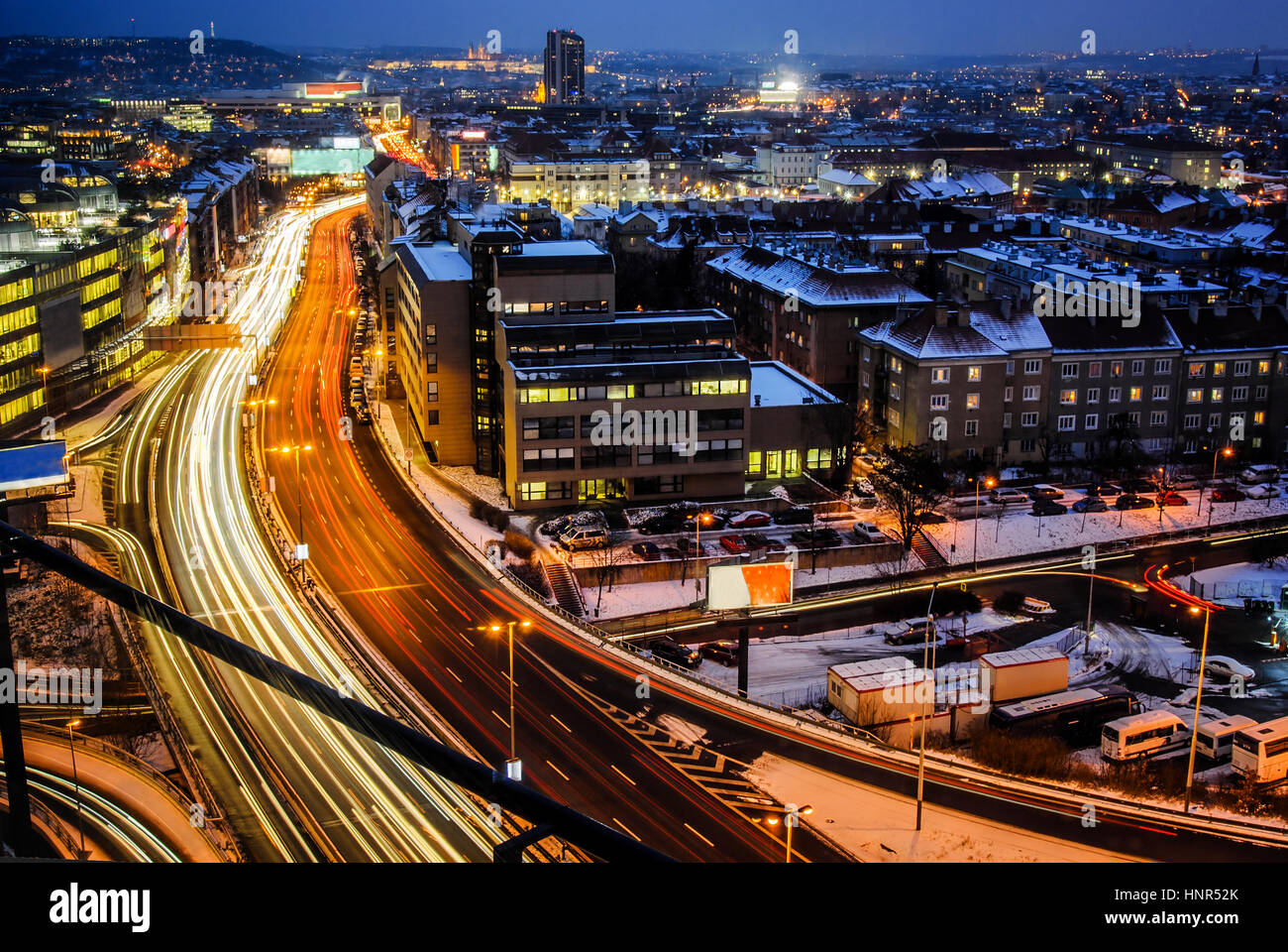 Night expressway in the city. Prague main road from birds perspective on long time exposure. Beautiful cityscape - Stock Image
