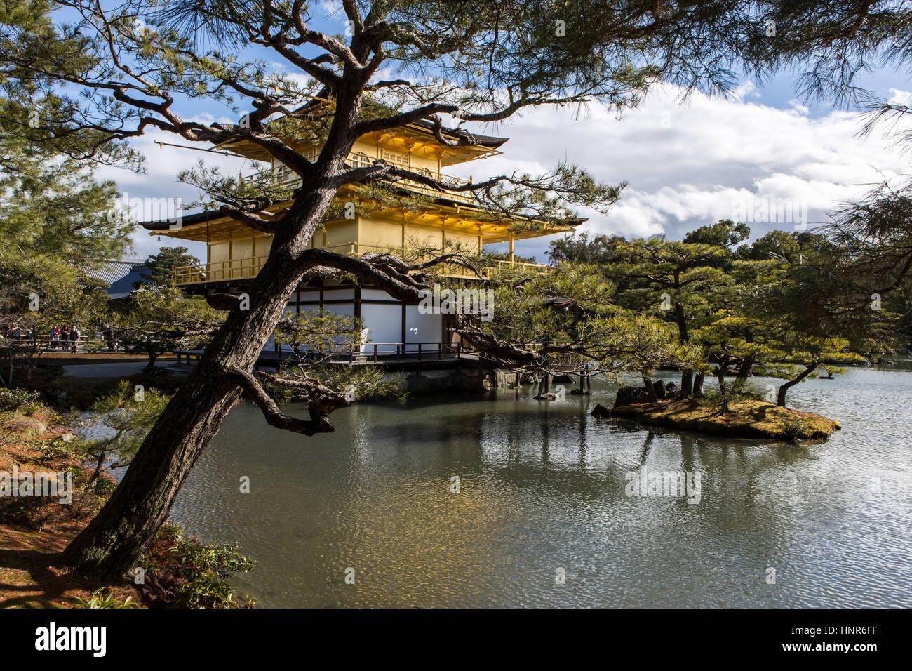 Kinkaku-ji, (金閣寺, Golden Pavilion) officially named Rokuon-ji, is a Zen Buddhist temple in Kyoto, Japan Stock Photo
