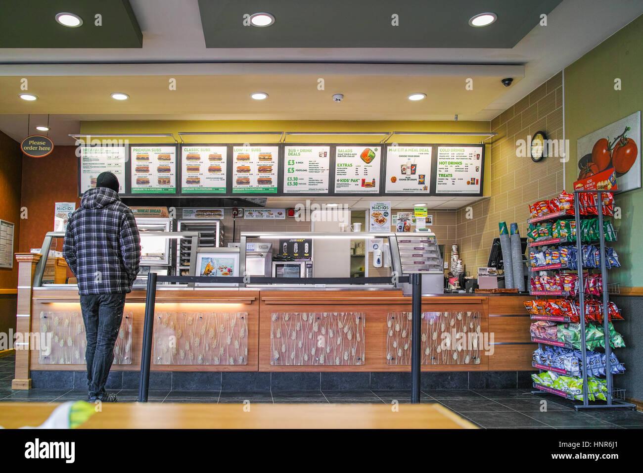 Subway fast food shop at Canterbury. - Stock Image