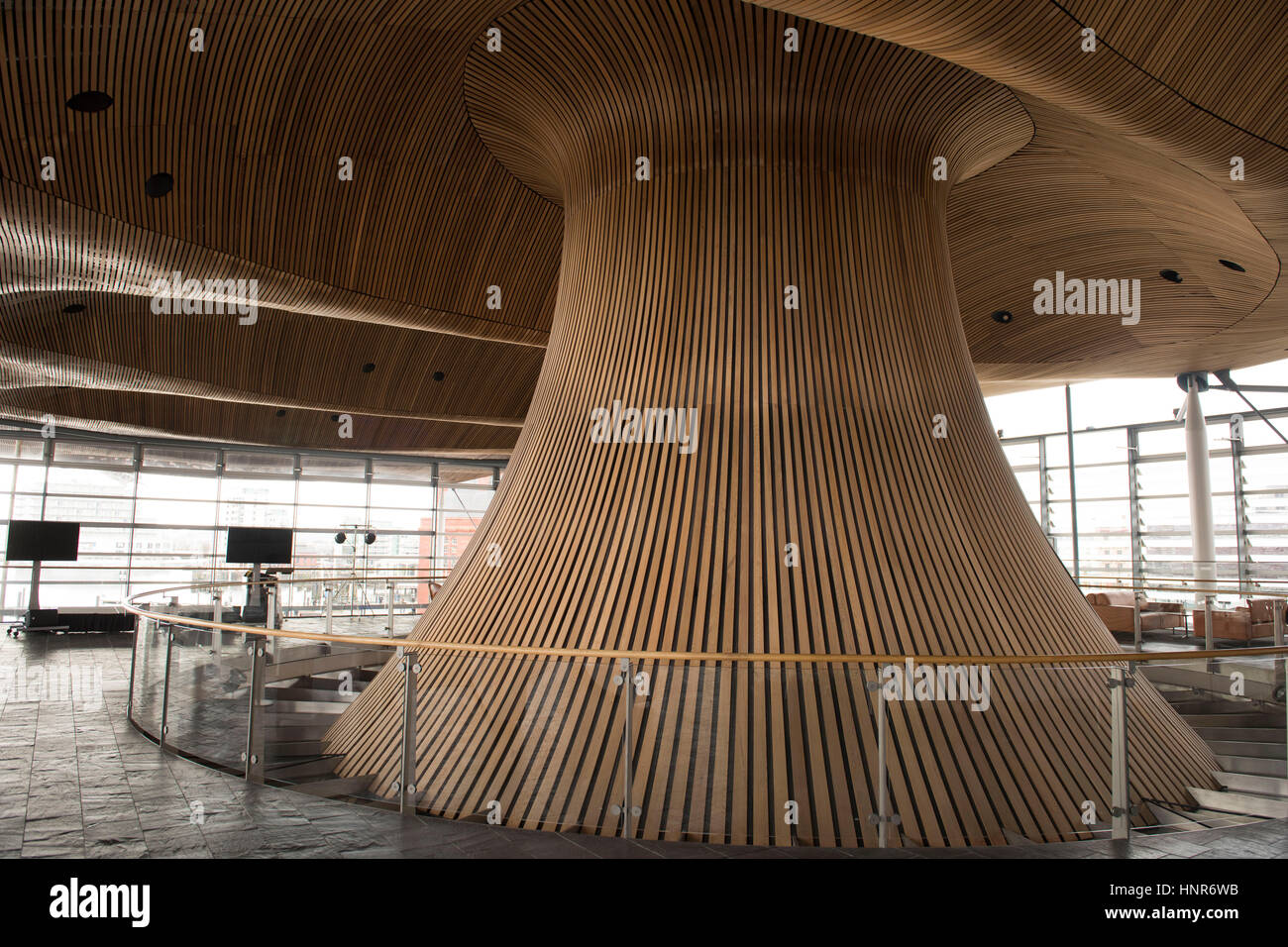 A general view of interior woodwork on the ceiling and funnel of the Senedd, home of the Welsh Assembly, in Cardiff Stock Photo
