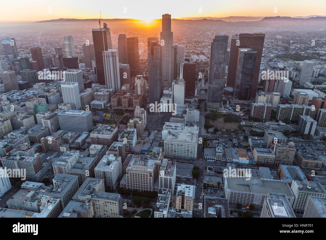 Los Angeles, California, USA - July 21, 2016:  Downtown Los Angeles urban sunset aerial. Stock Photo