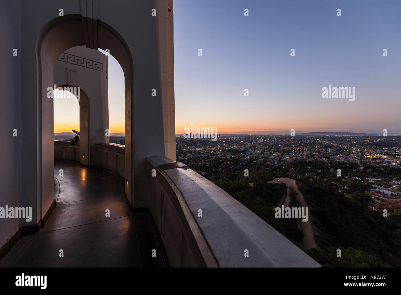 Editorial sunrise cityscape view from Los Angeles's Griffith Park Observatory. Stock Photo