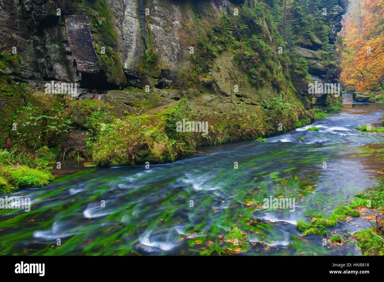Kamnitz Gorge / Soutěsky Kamenice in Bohemian Switzerland in autumn, Ústí nad Labem Region / Ústecký Region, Czech Stock Photo