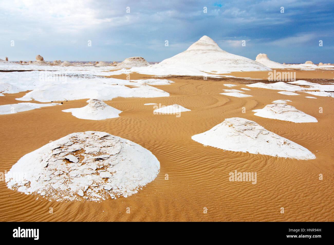 Rocks in Great White Desert in Egypt - Stock Image