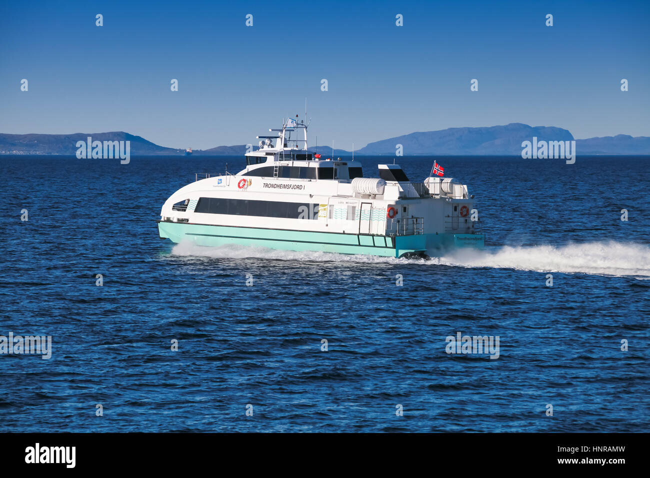 Trondheim, Norway - October 17, 2016: Fast passenger ferry boat Trondheimsfjord I goes on Norwegian sea. Trondheim, - Stock Image