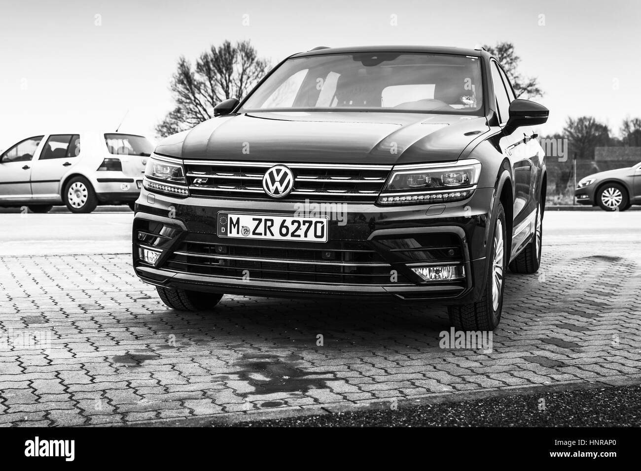Hamburg, Germany - February 10, 2017: Outdoor photo of second generation Volkswagen Tiguan, 4x4 R-Line. Compact - Stock Image