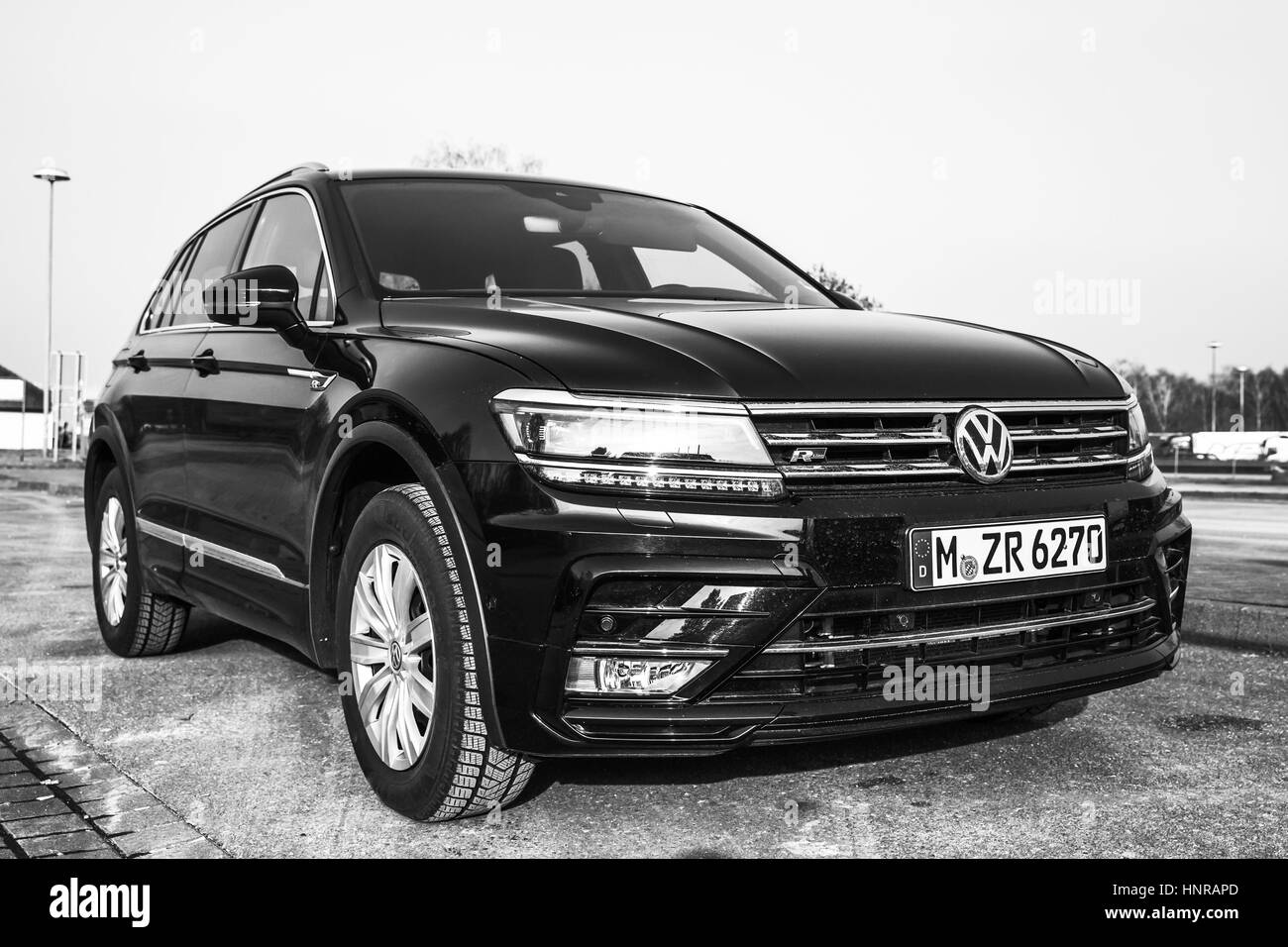 Hamburg, Germany - February 10, 2017: Outdoor photo of second generation Volkswagen Tiguan, R-Line. Compact crossover - Stock Image