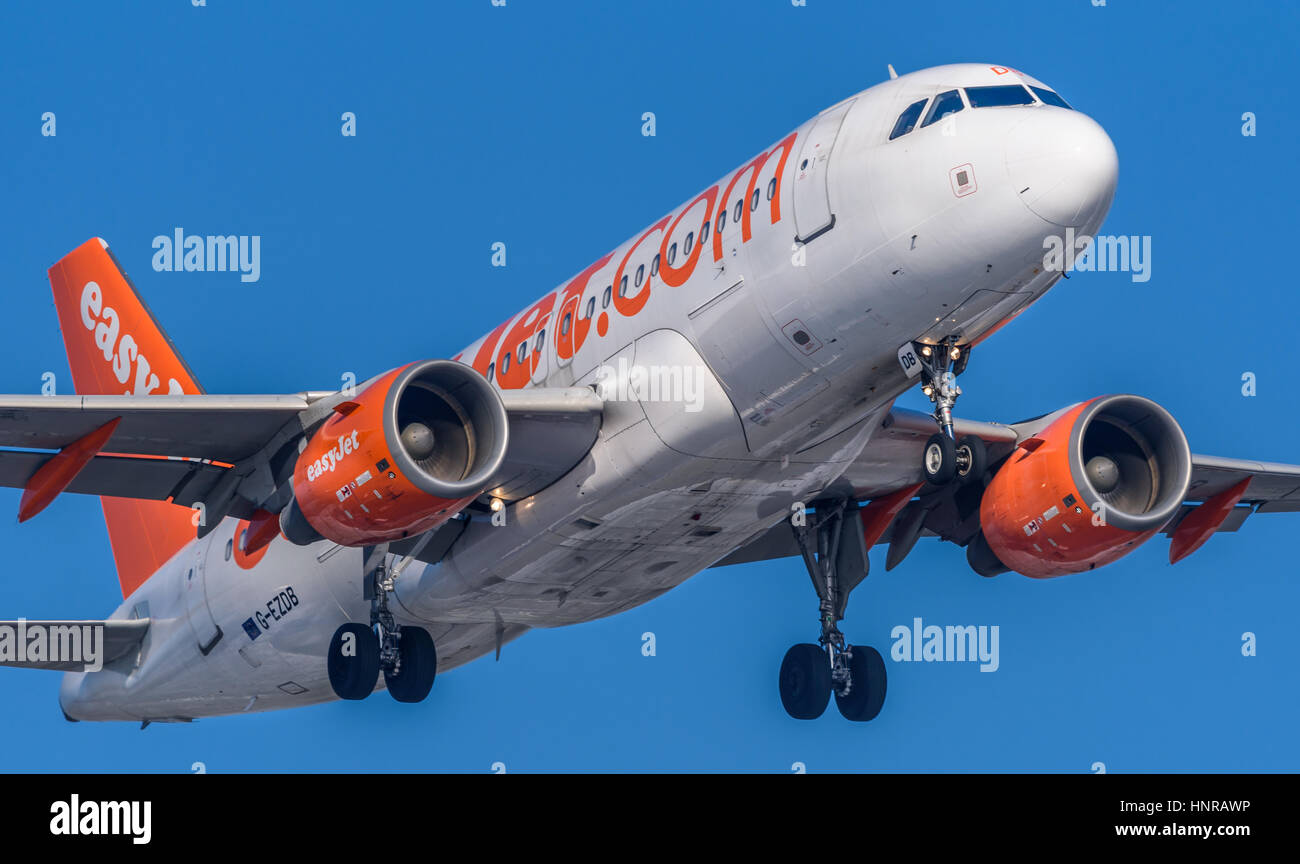 Airplane or aeroplane from Easyjet G-EZDB Commercial aviation is a massive industry involving the transport of passengers - Stock Image