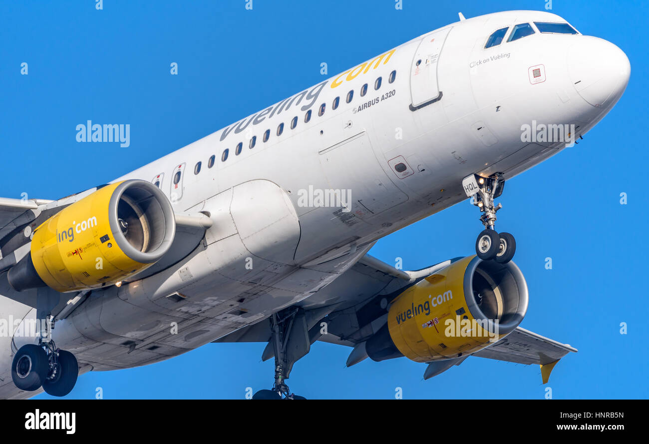 Airplane or aeroplane from   Airfrance Commercial aviation is a massive industry involving the transport of passengers - Stock Image