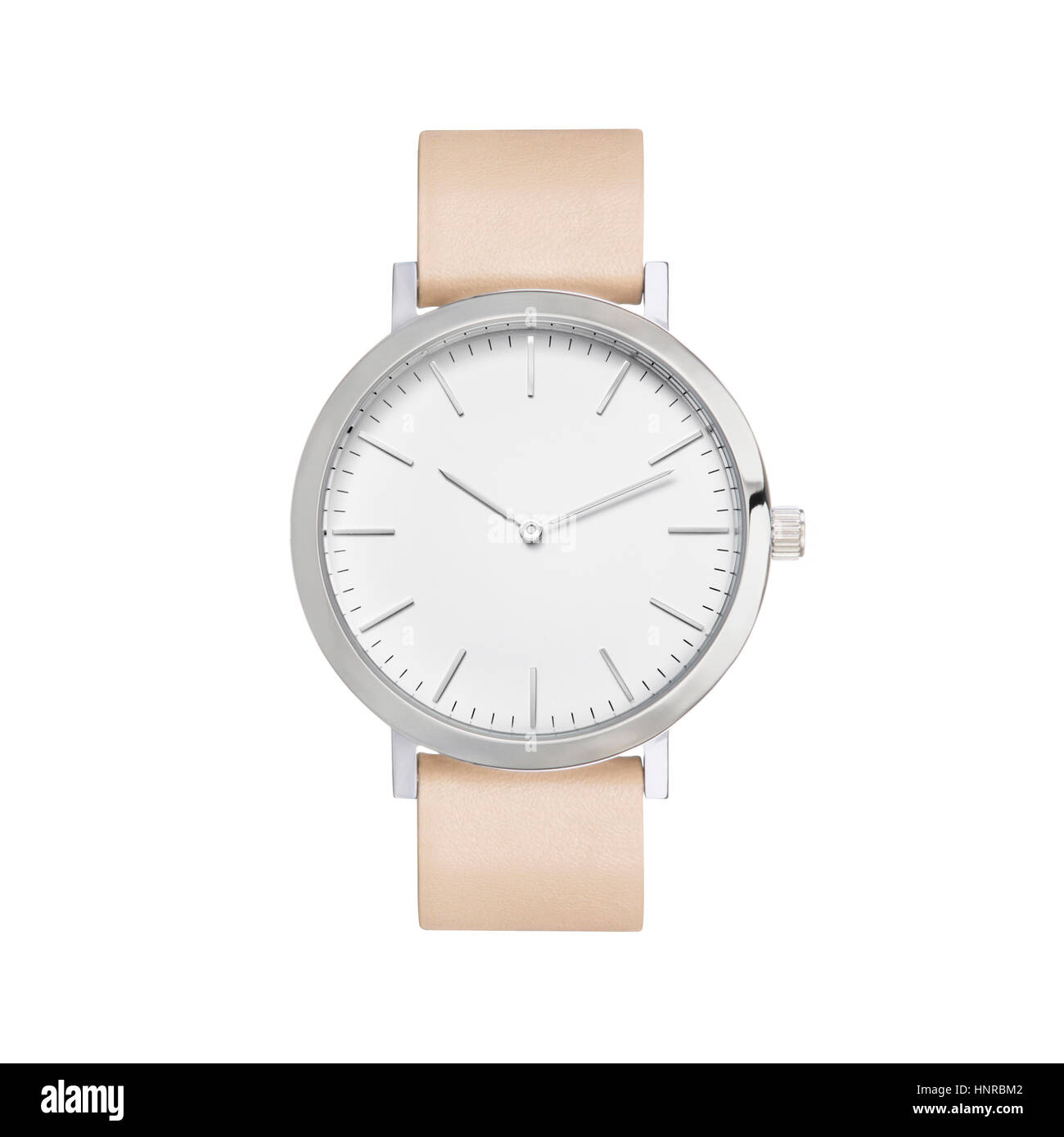 Wrist watch angle product style with white background, shinny metallic finish. - Stock Image