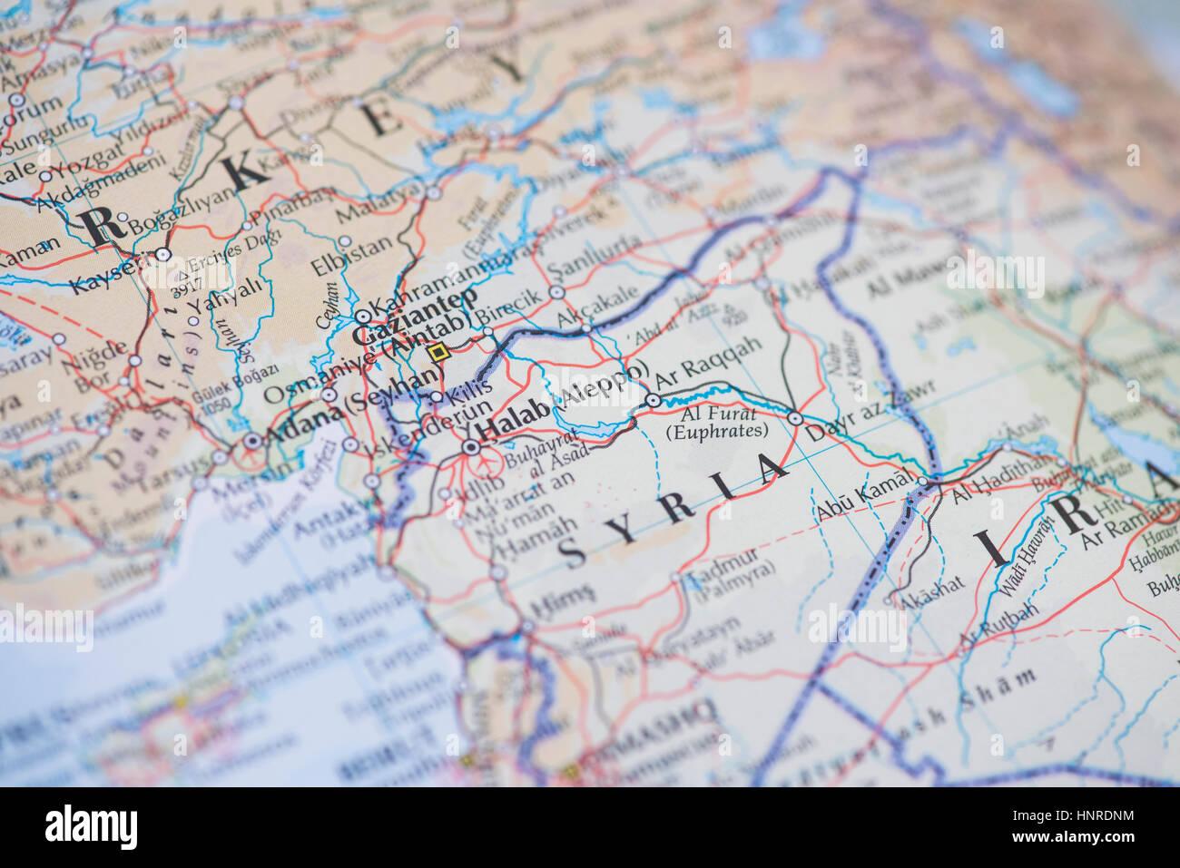 Syria Map - Stock Image