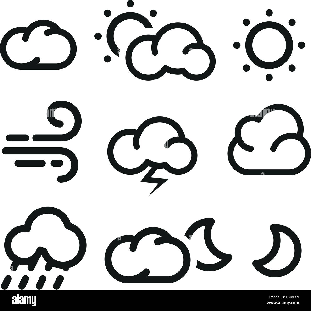 Isolated black and white color elements of weather forecast icons collection in lineart style. - Stock Image