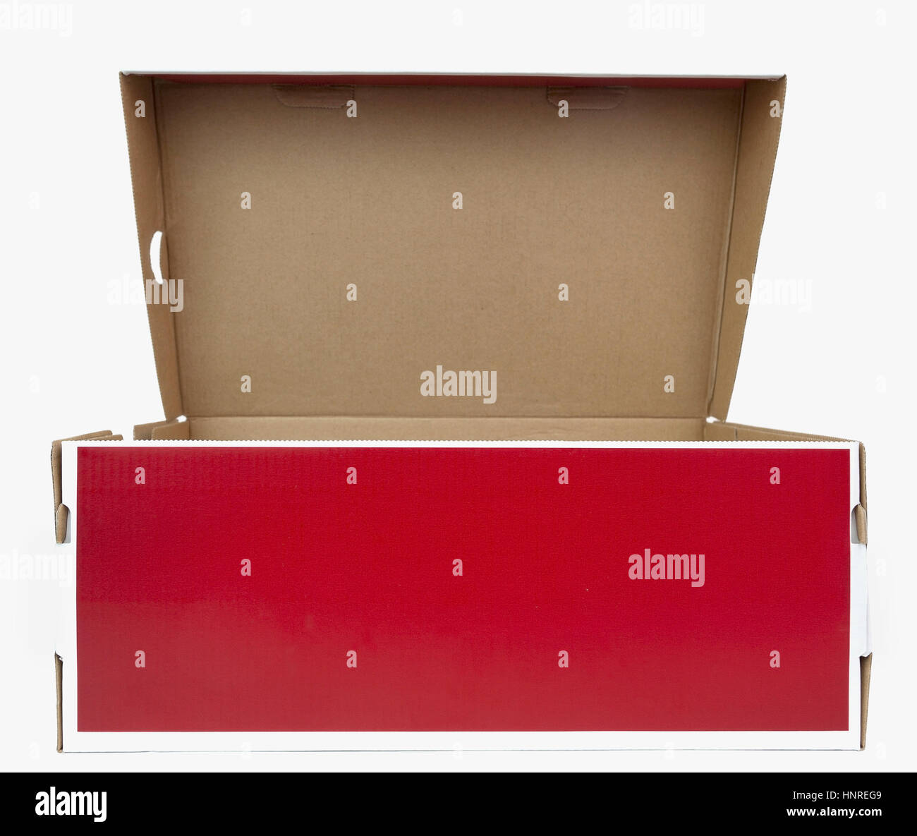 Red and white shoebox with lid open. - Stock Image