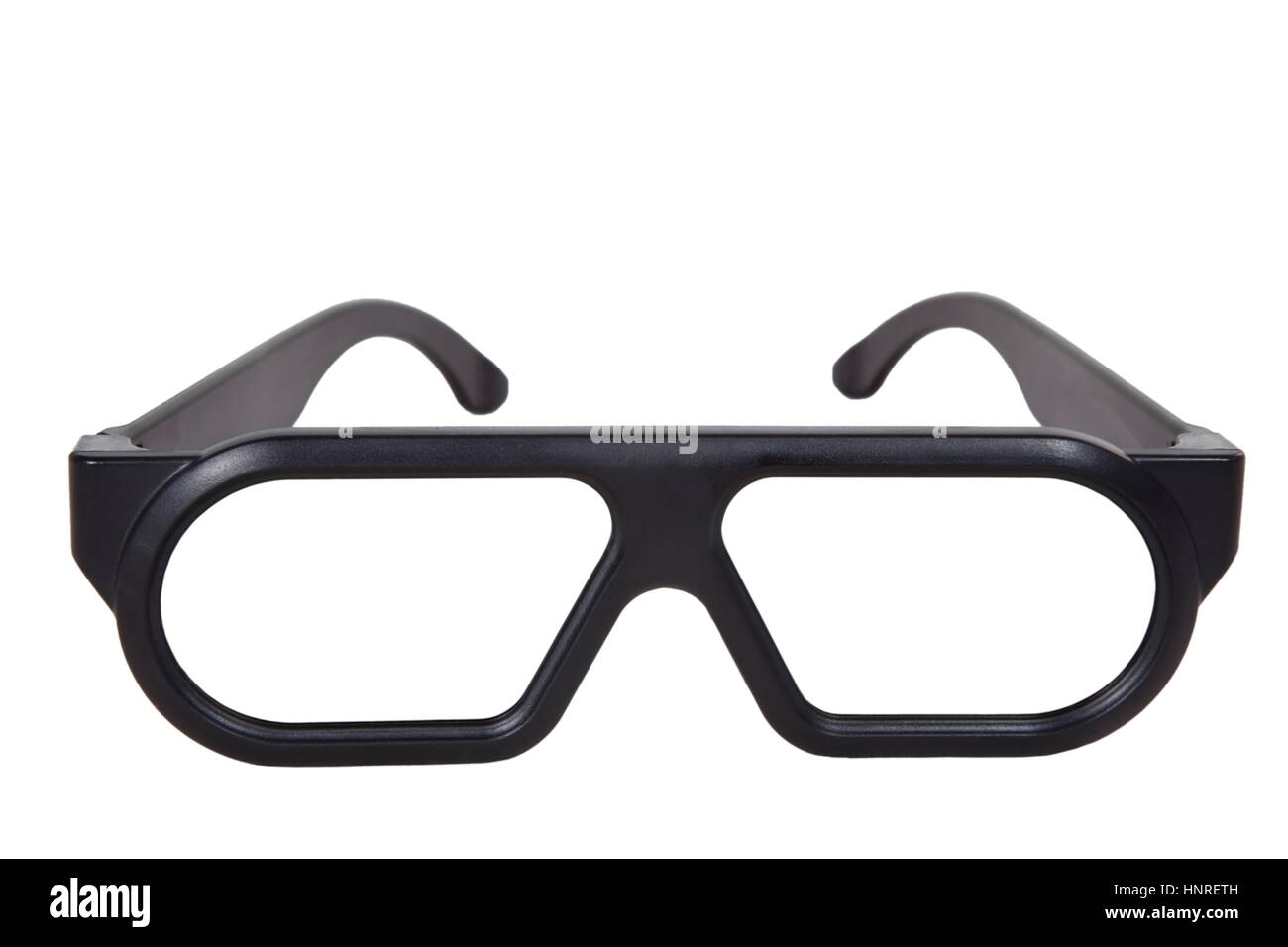 Isolated plastic black 3-D theater glasses. - Stock Image