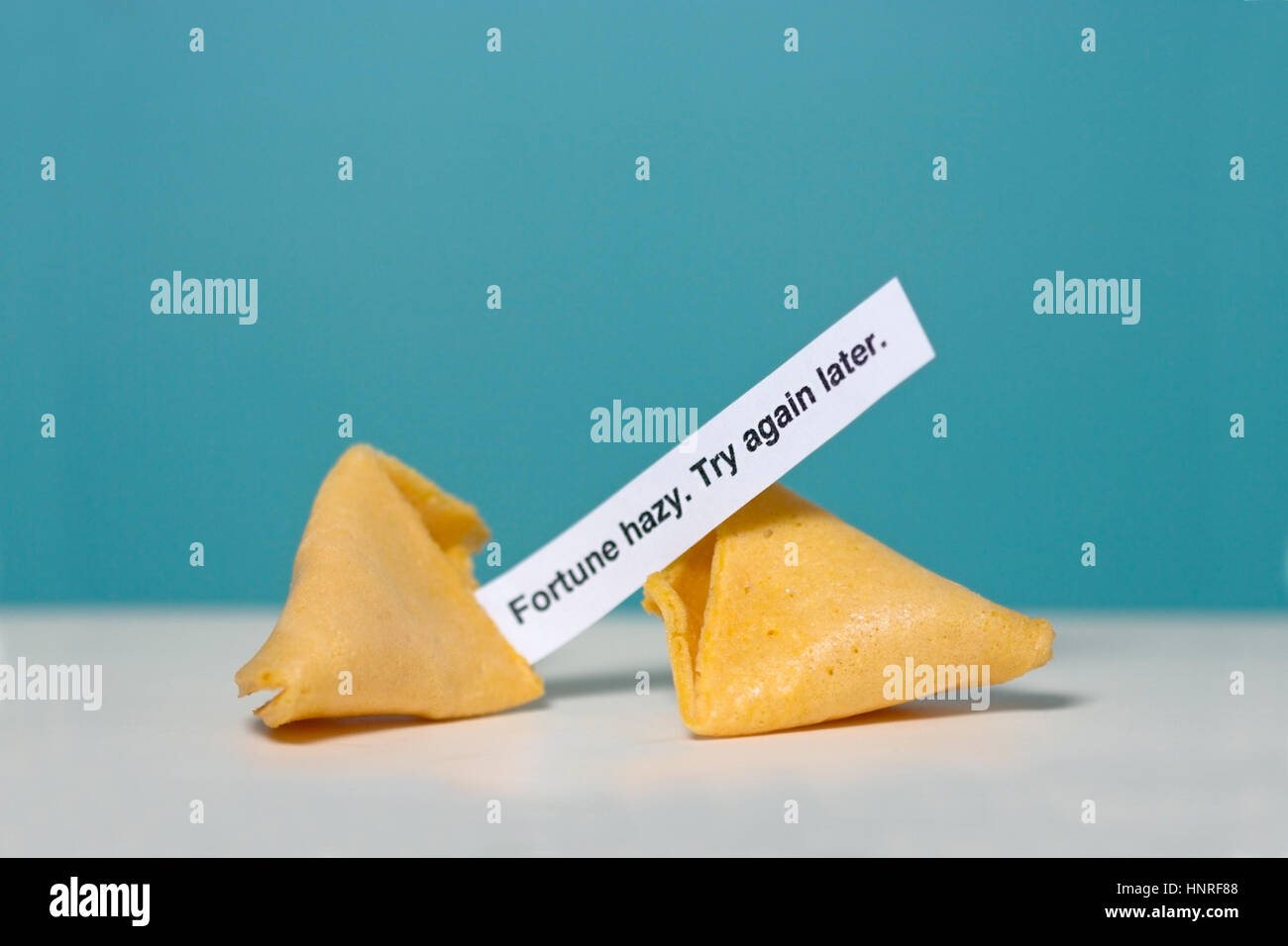 MISfortune cookie. FORUNE HAZY. TRY AGAIN LATER. Fun. Humor. - Stock Image