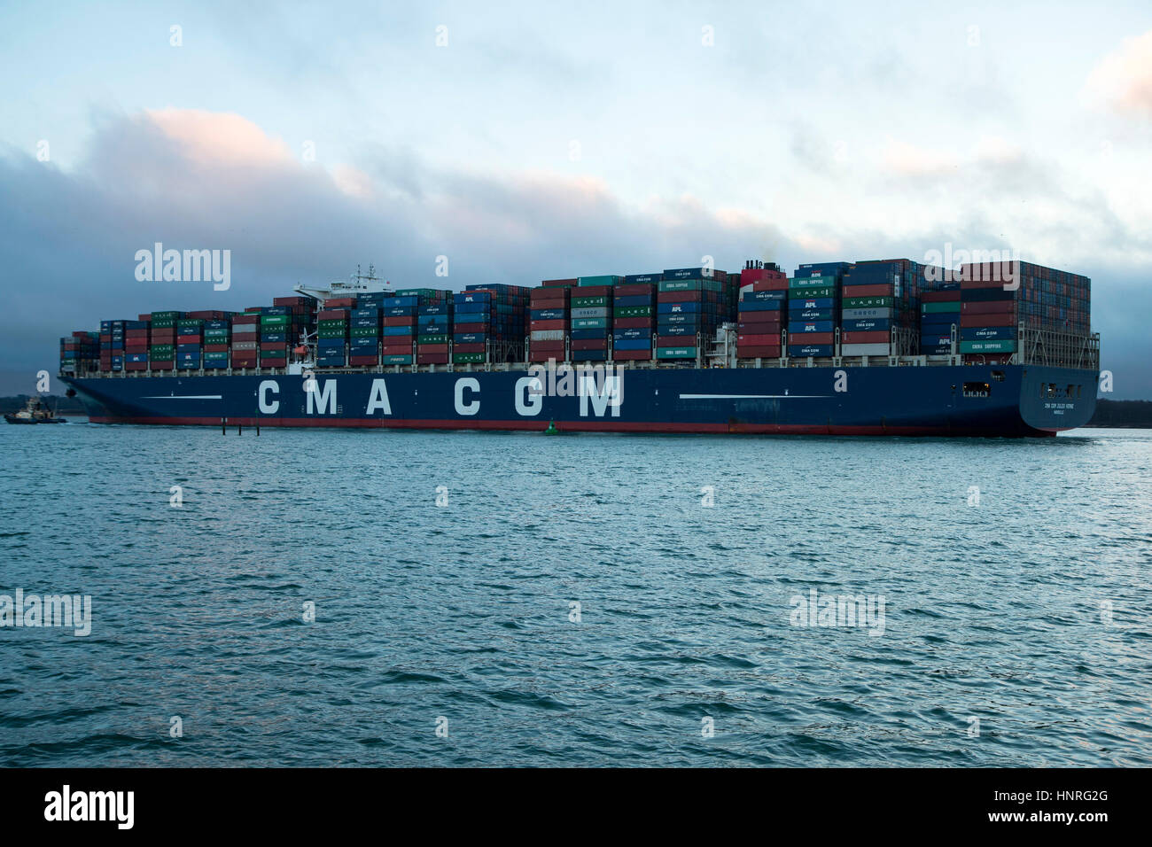 CMA CGM Container ship Jules Verne leaving Southampton on 15 February en route to Dunkirk. Taken from Mayflower - Stock Image